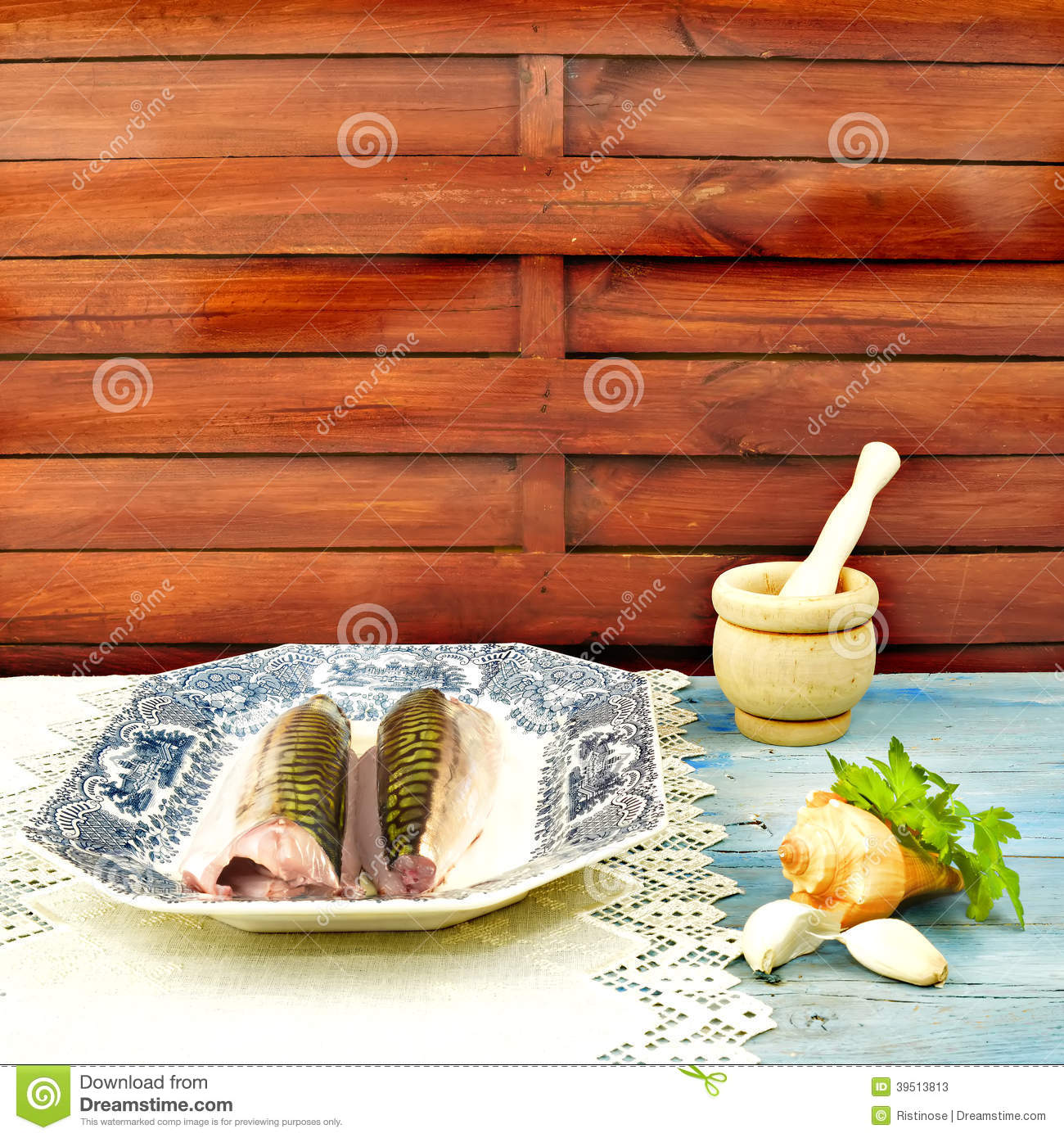 Tray of fish and cooking ingredients