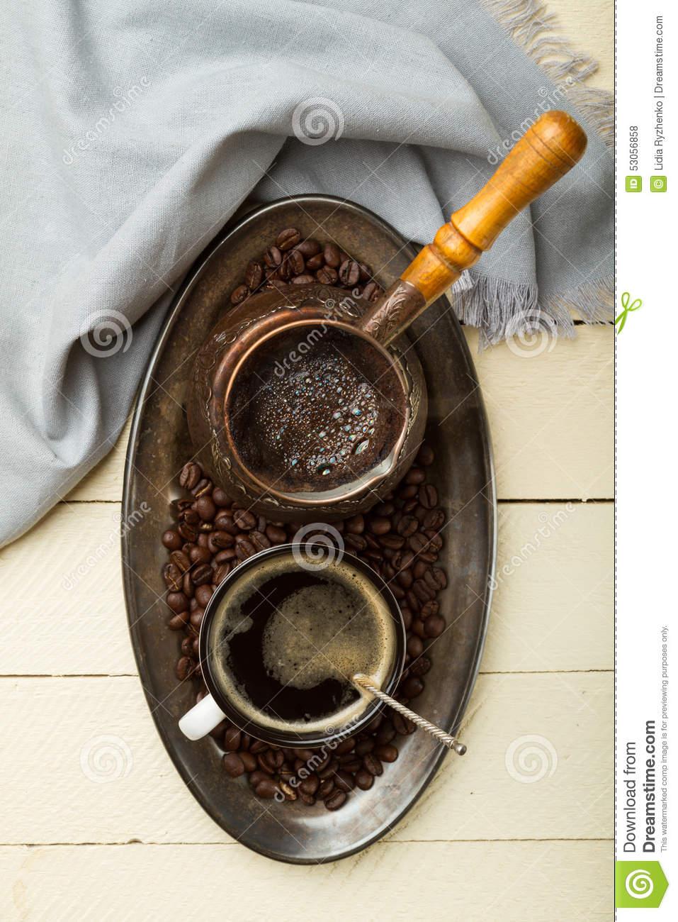 Tray of freshly made coffee