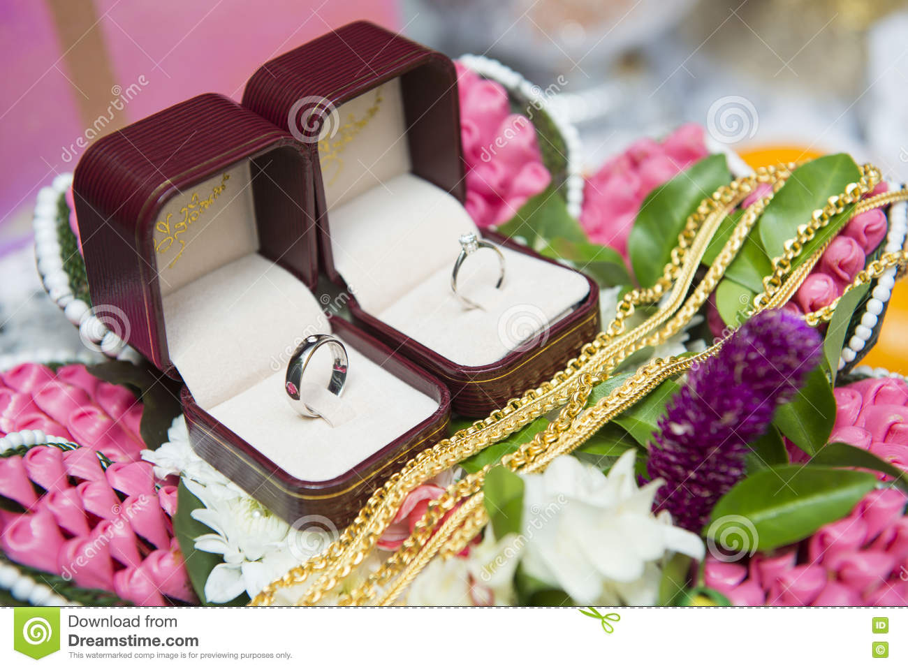 Wedding Ceremony Gift: Tray Of Gifts From The Groom In Engagement Ceremony Stock