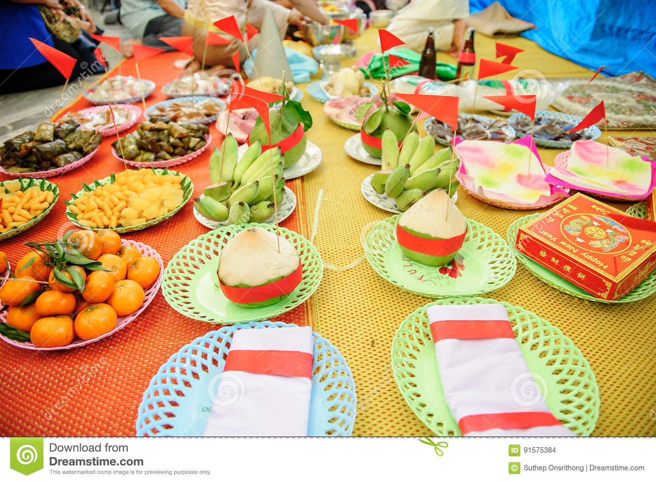 Tray Of Gifts From Groom Stock Photo Image Of Garland 91575384