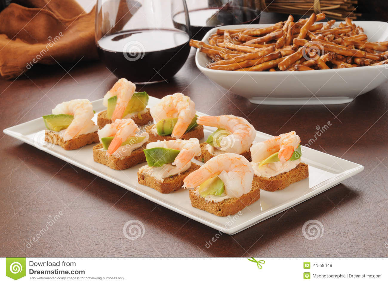 Tray of shrimp canapes royalty free stock photos image for Canape serving platters