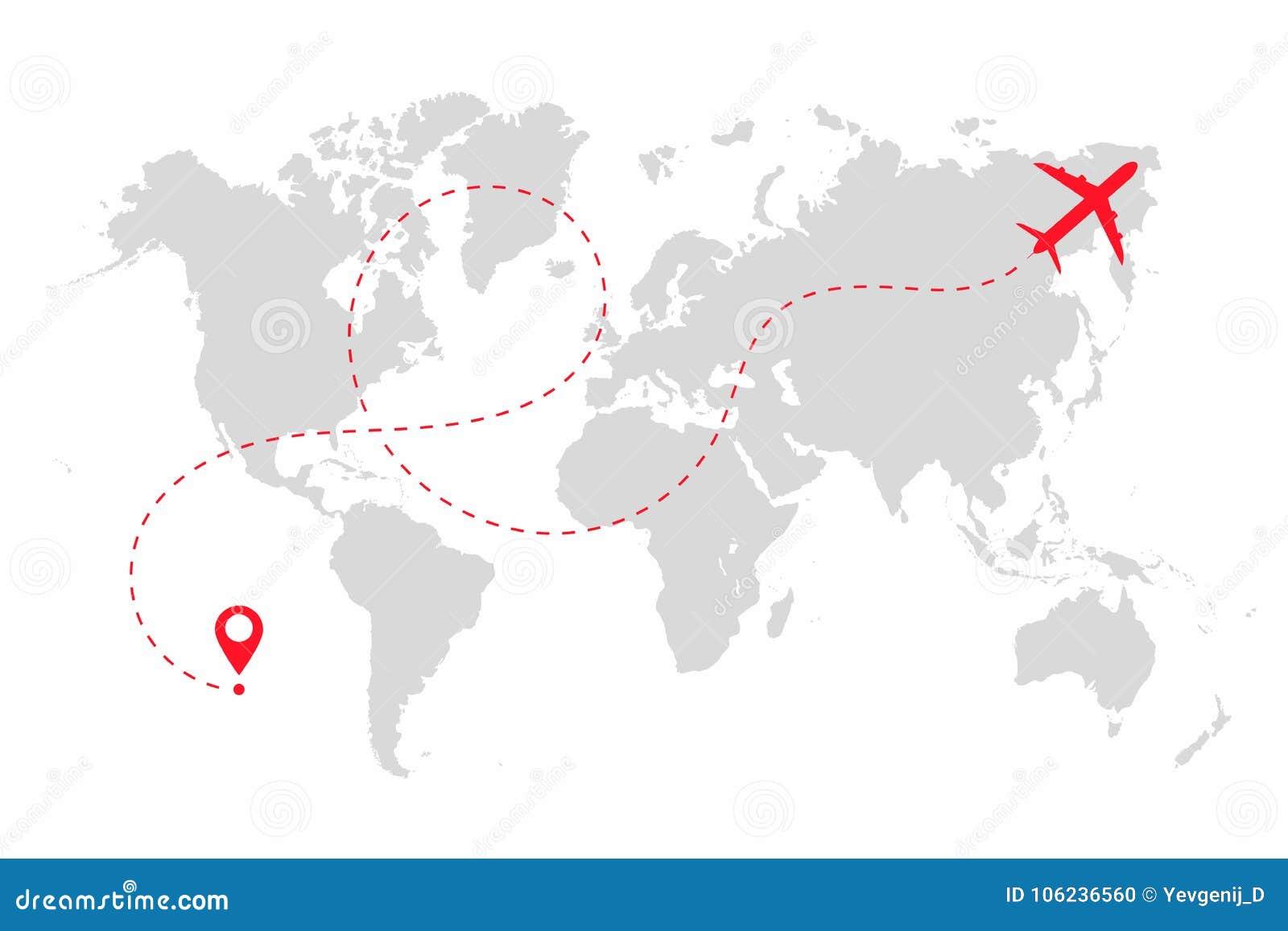 d8d44dd838 Trayectoria del aeroplano en la línea de puntos forma en mapa del mundo  Ruta del avión
