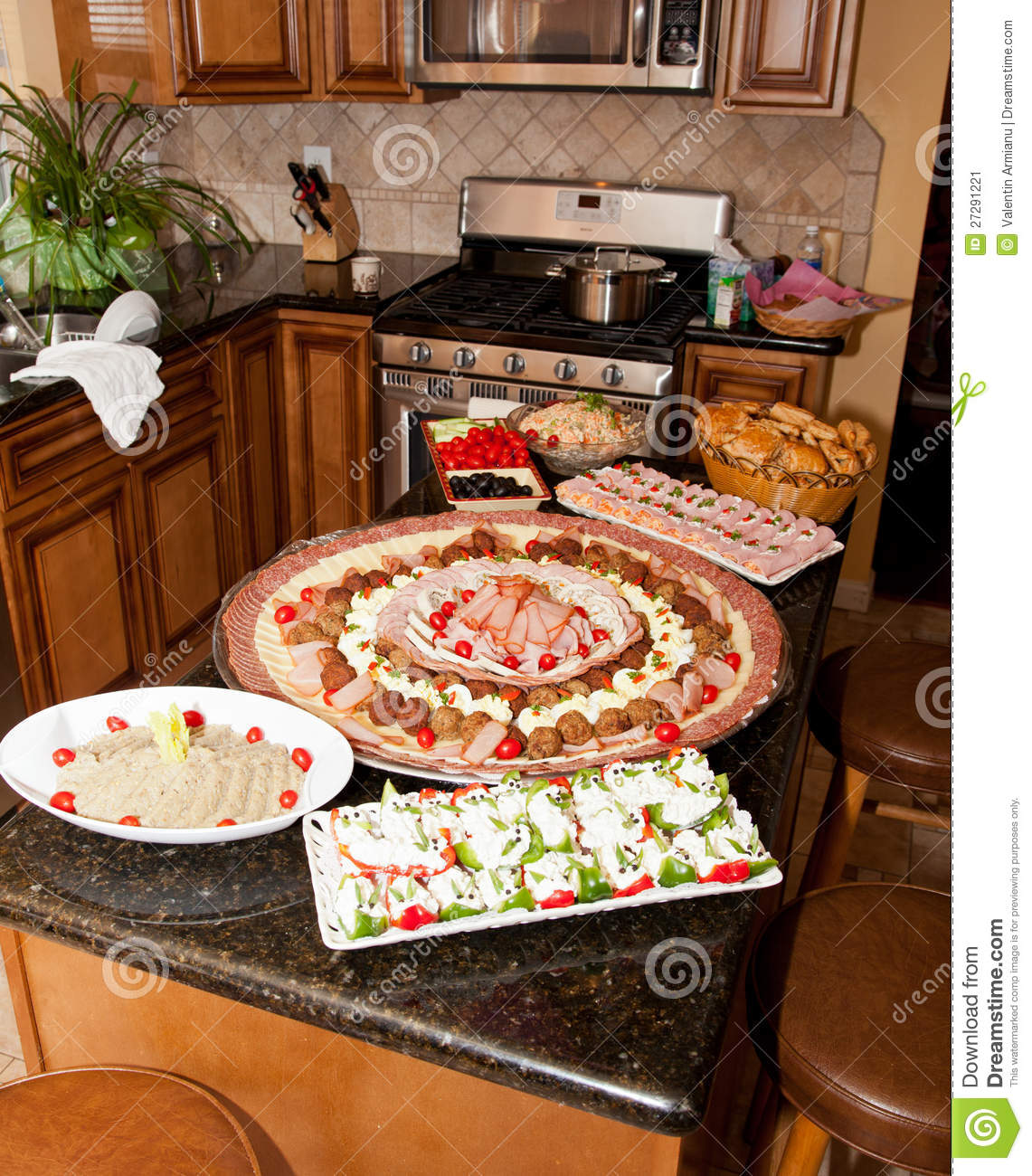 Trays Of Food In Kitchen Stock Image. Image Of Kitchenware