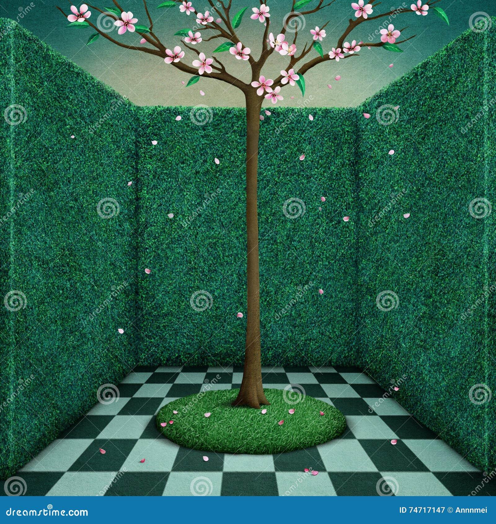 Träd i grönt rum stock illustrationer   bild: 74717147