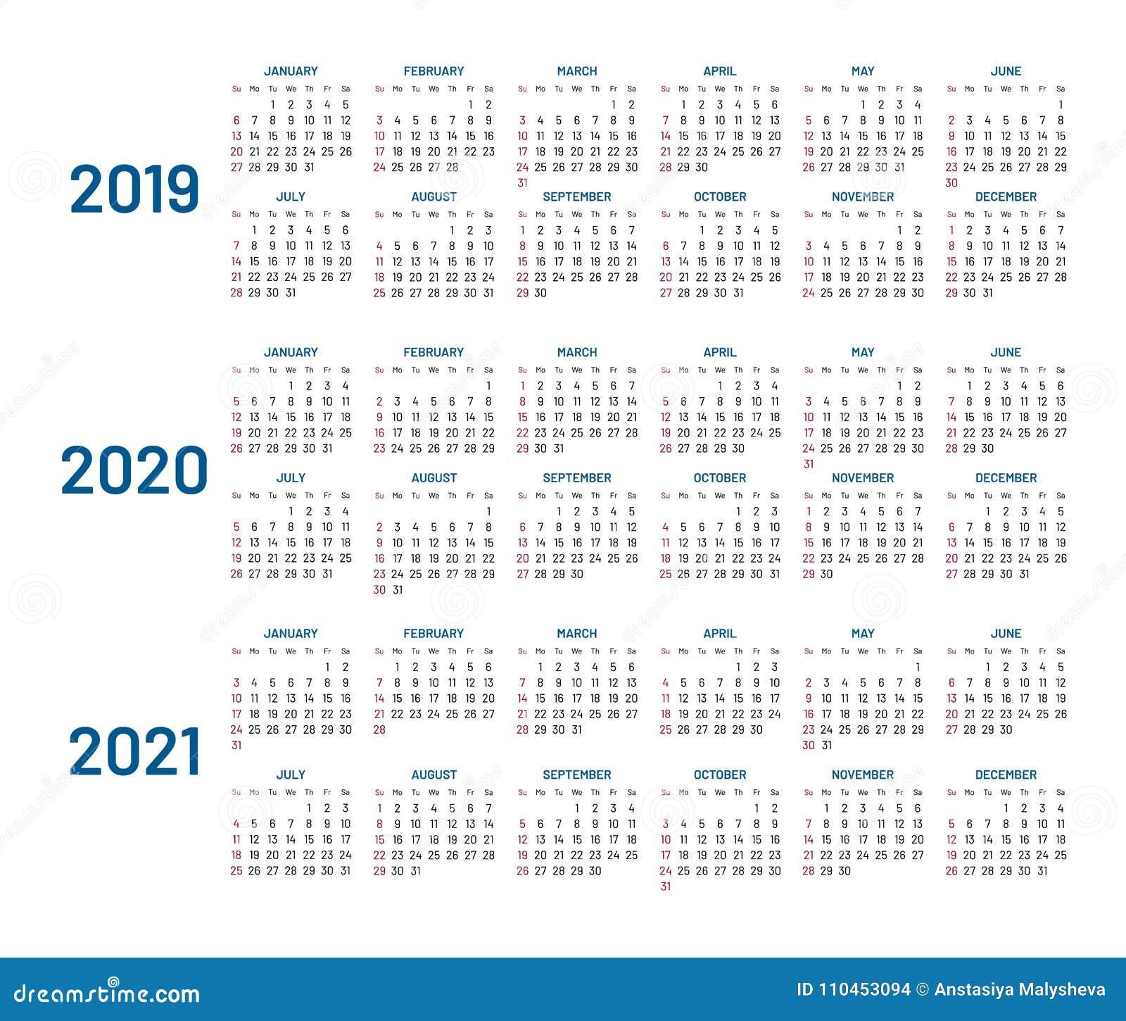 Tre år kalender, 2019, 2020, 2021, isolerat som är plan
