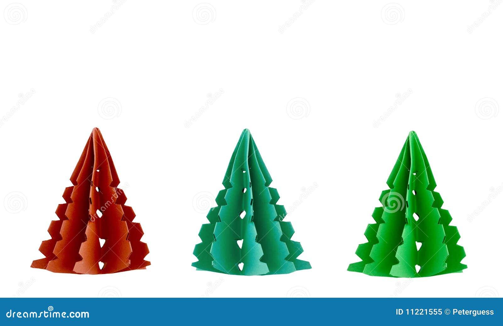 Tre alberi di natale di carta immagine stock immagine for Alberi di natale di carta