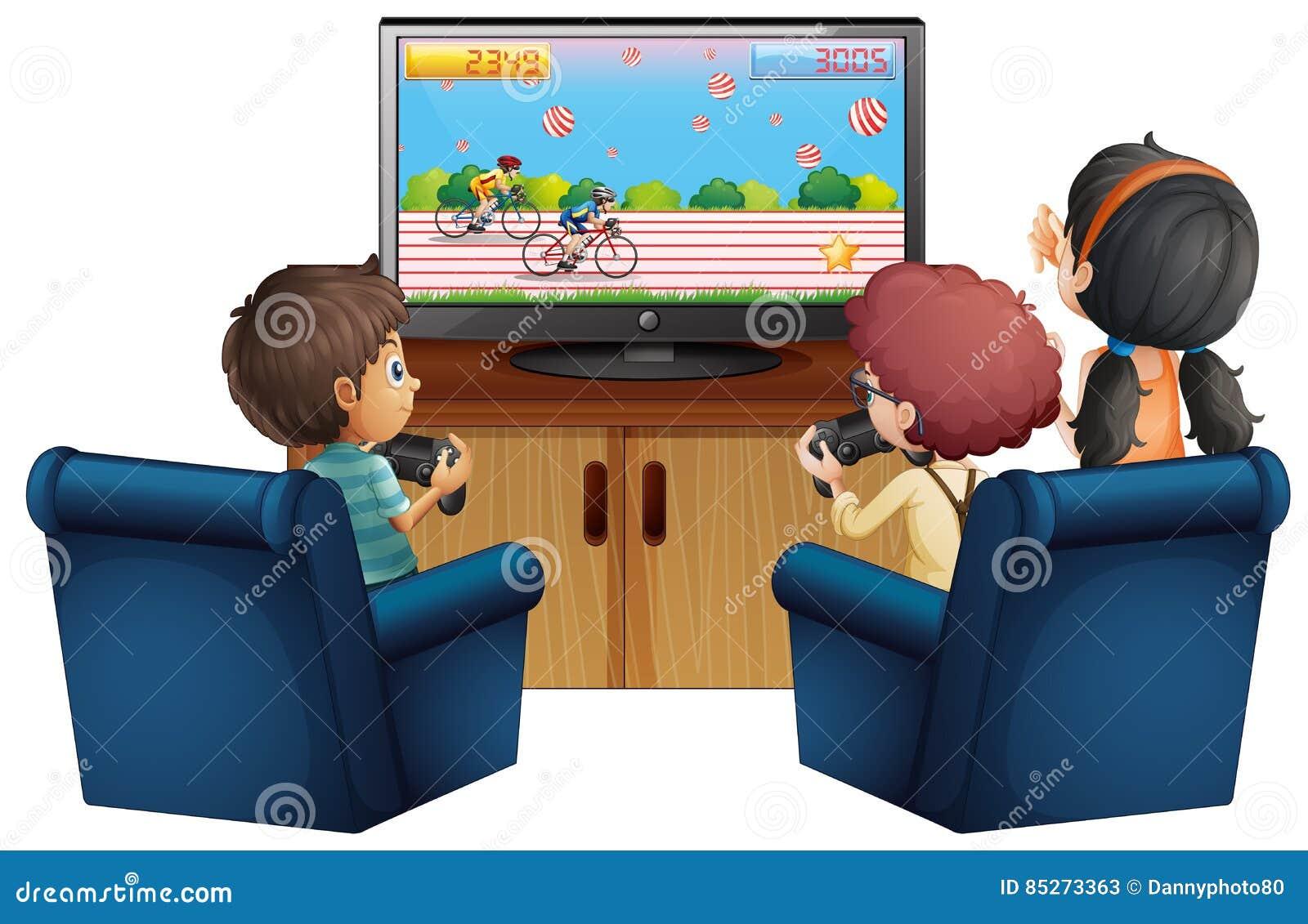 Tre bambini che giocano gioco a casa illustrazione di for Grandi bambini giocano a casa