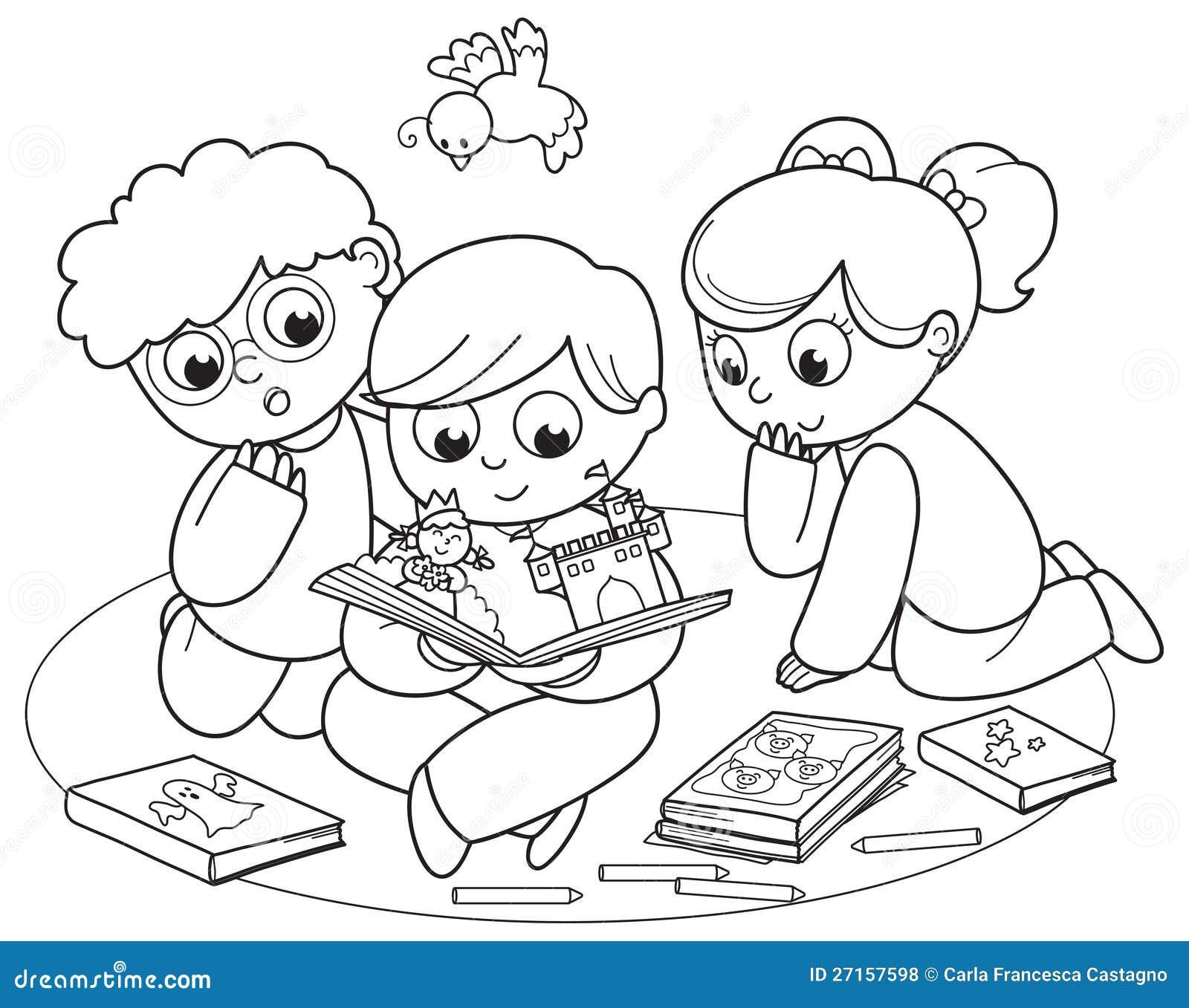 Tre bambini che leggono un libro a finestra illustrazione for Foto di un libro