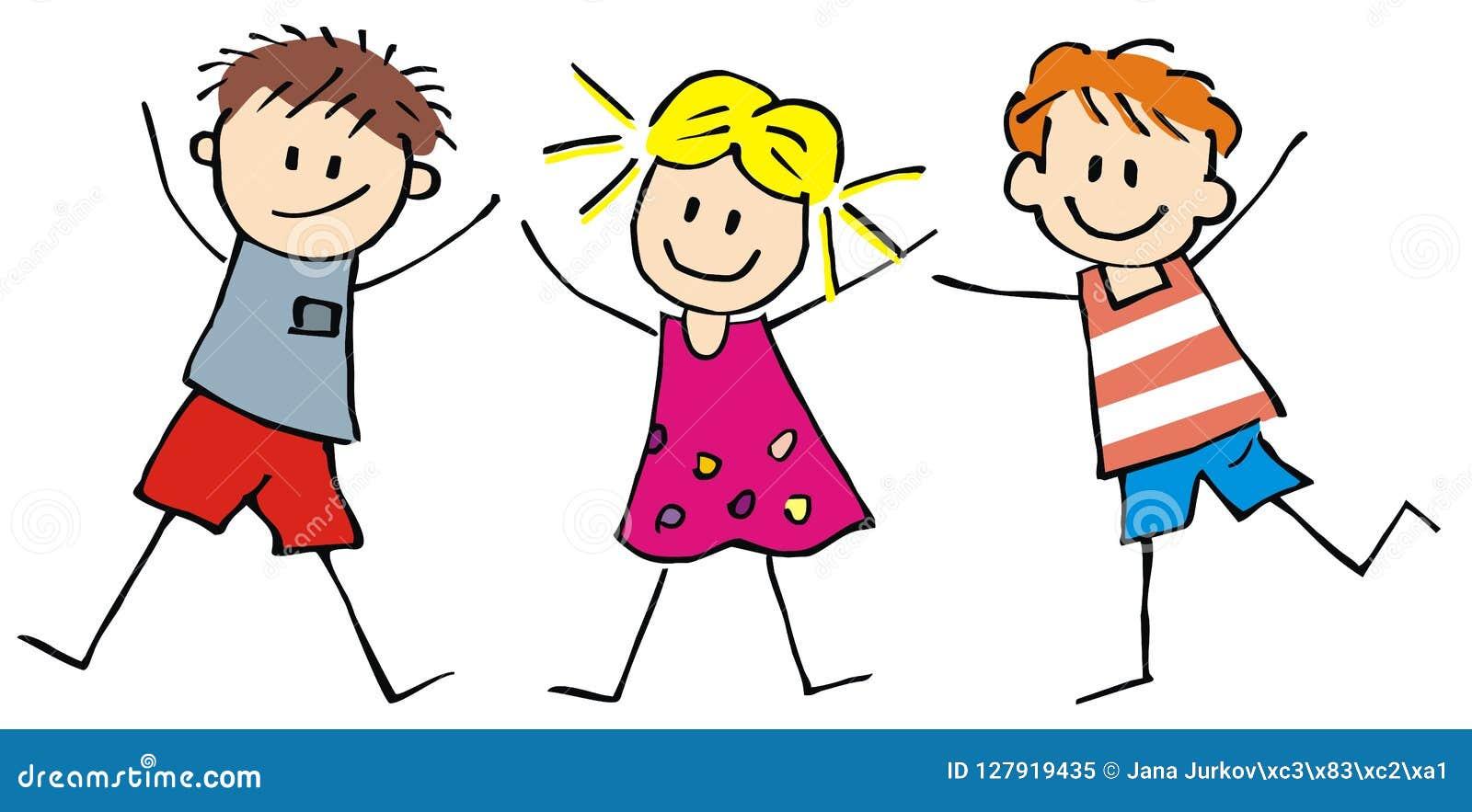 Tre bambini, ragazzi e ragazze felici, illustrazione divertente di vettore