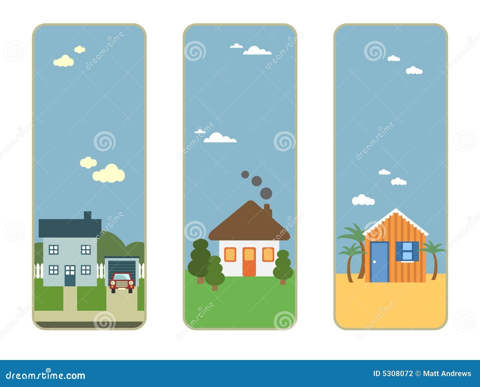 Download Tre bandiere della casa illustrazione vettoriale. Illustrazione di striscia - 5308072