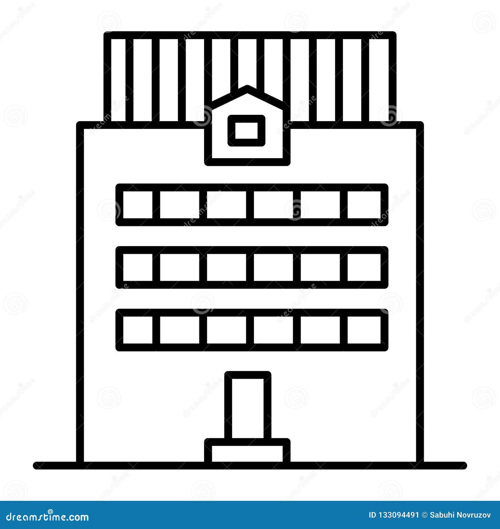 Tre-berättelse som bygger den tunna linjen symbol Kontorsbyggnadvektorillustration som isoleras på vit Yttre översiktsstil för hu
