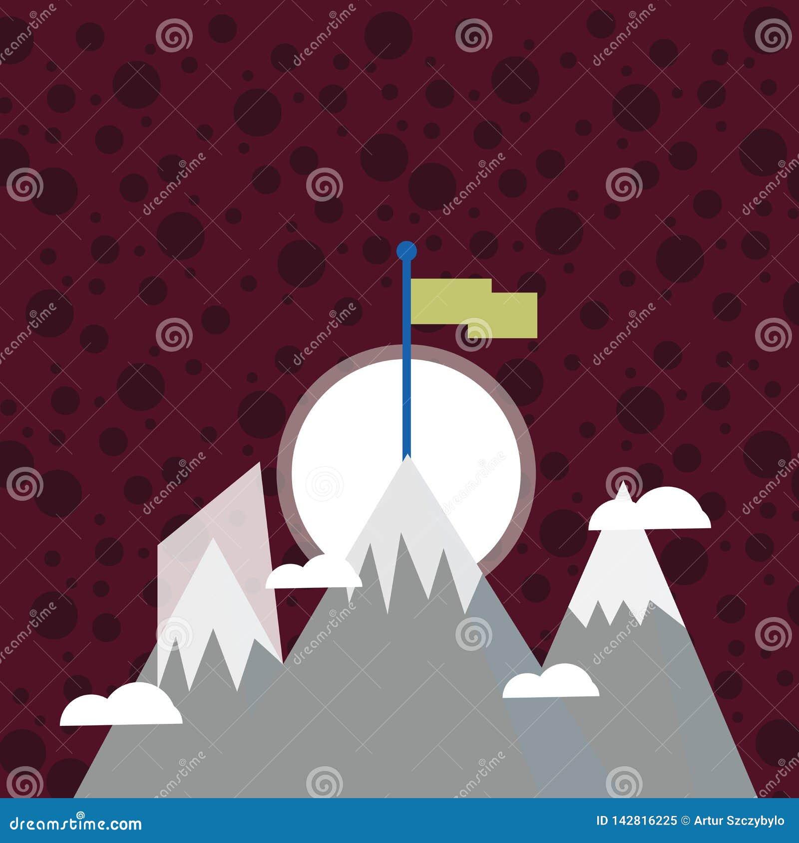 Tre berg med snö går upp utöver de lilla molnen En har den tomma färgrika flaggan som står på maximumet idérikt