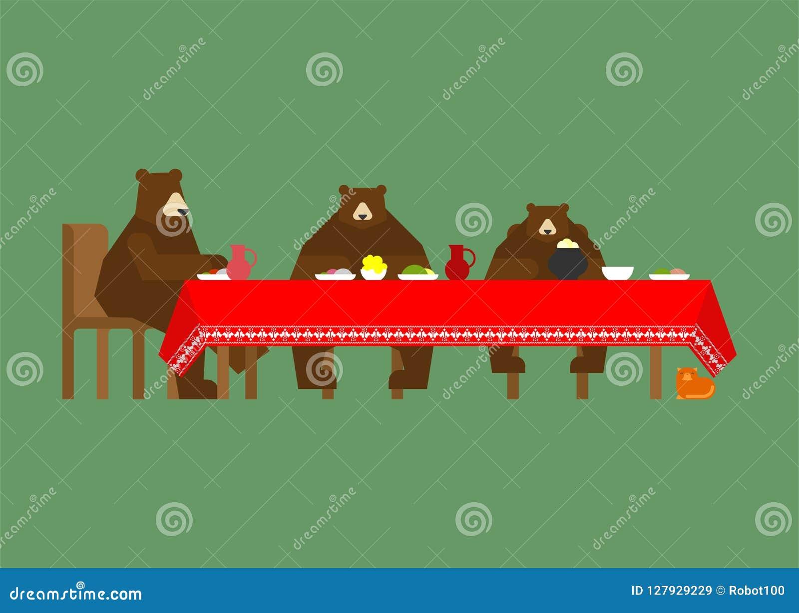 Tre björnar på att äta för tabell sagolika djur Fä från en mässa