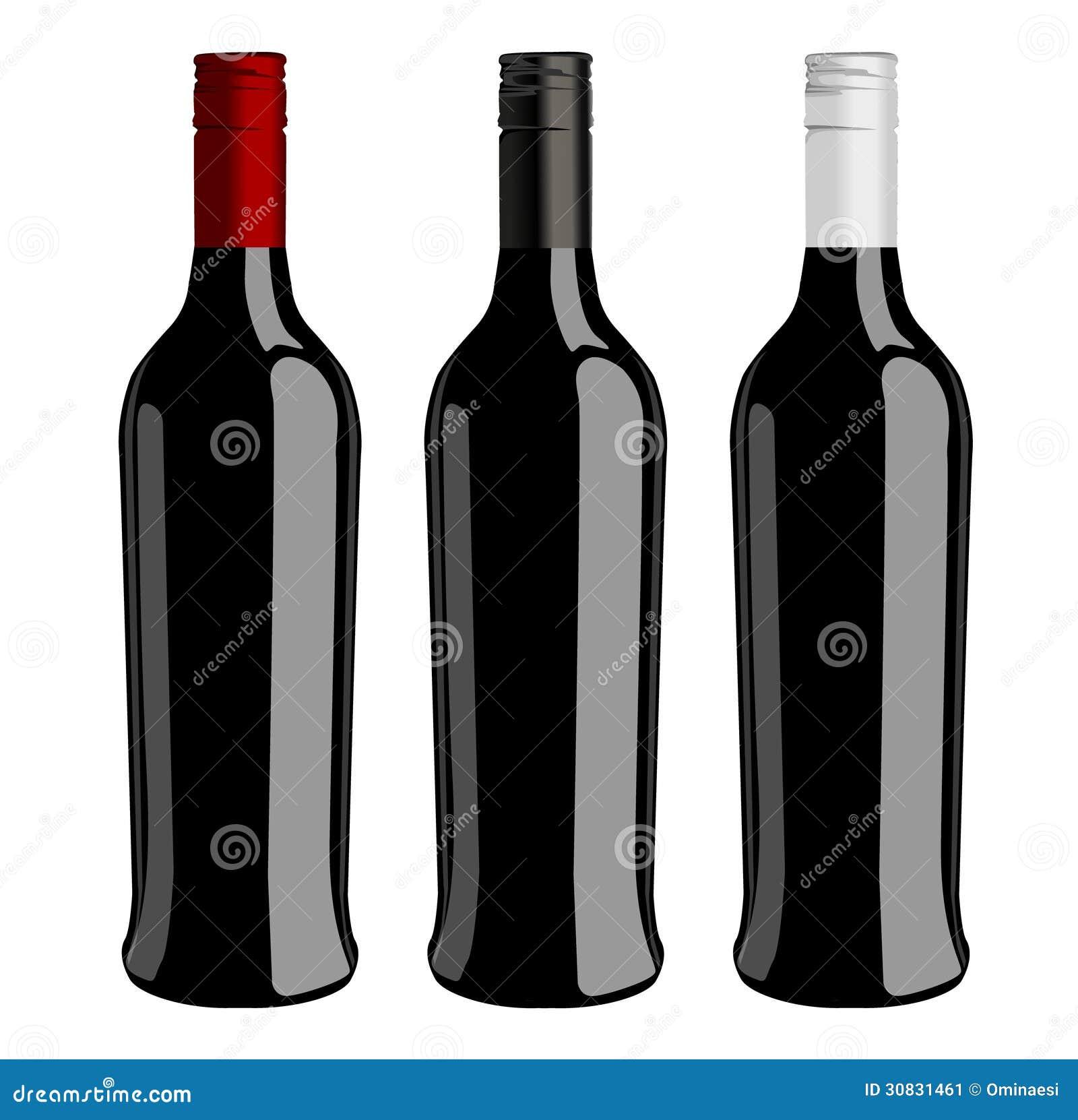 Tre bottiglie del vettore del vino