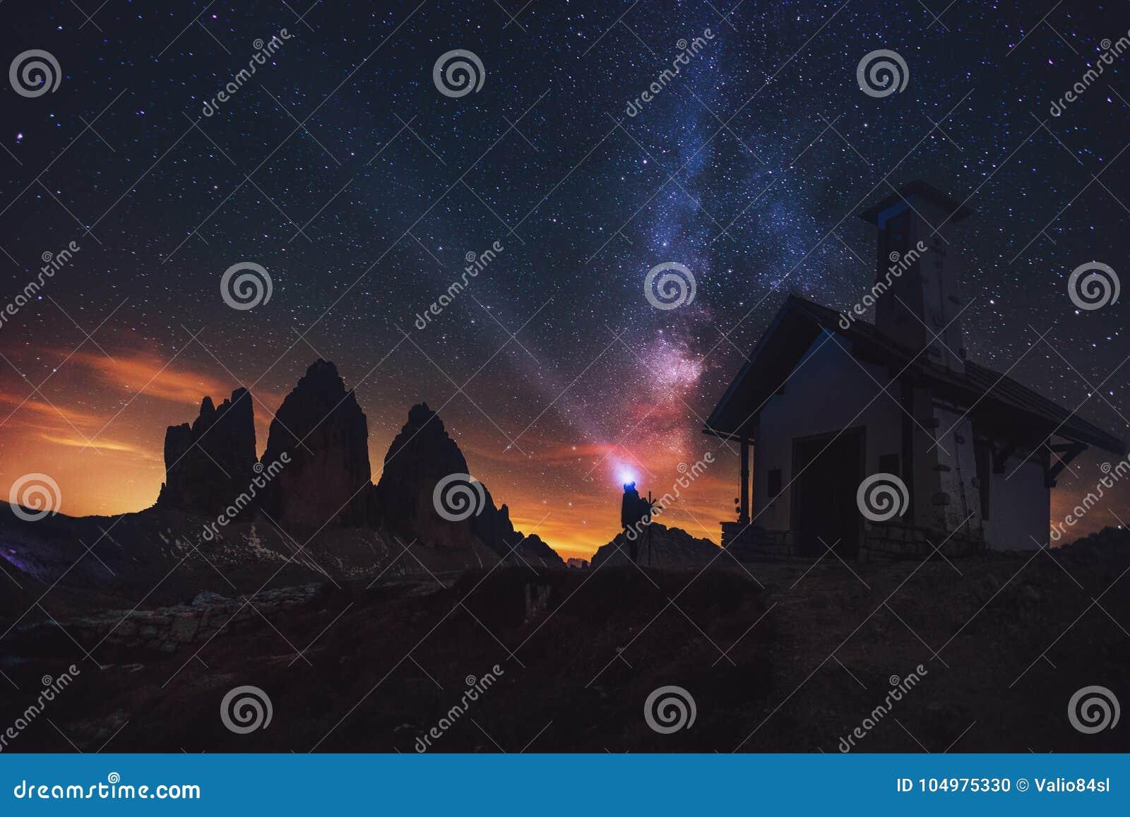 Tre Cime di Lavaredo at night in the Dolomites in Italy, Europe
