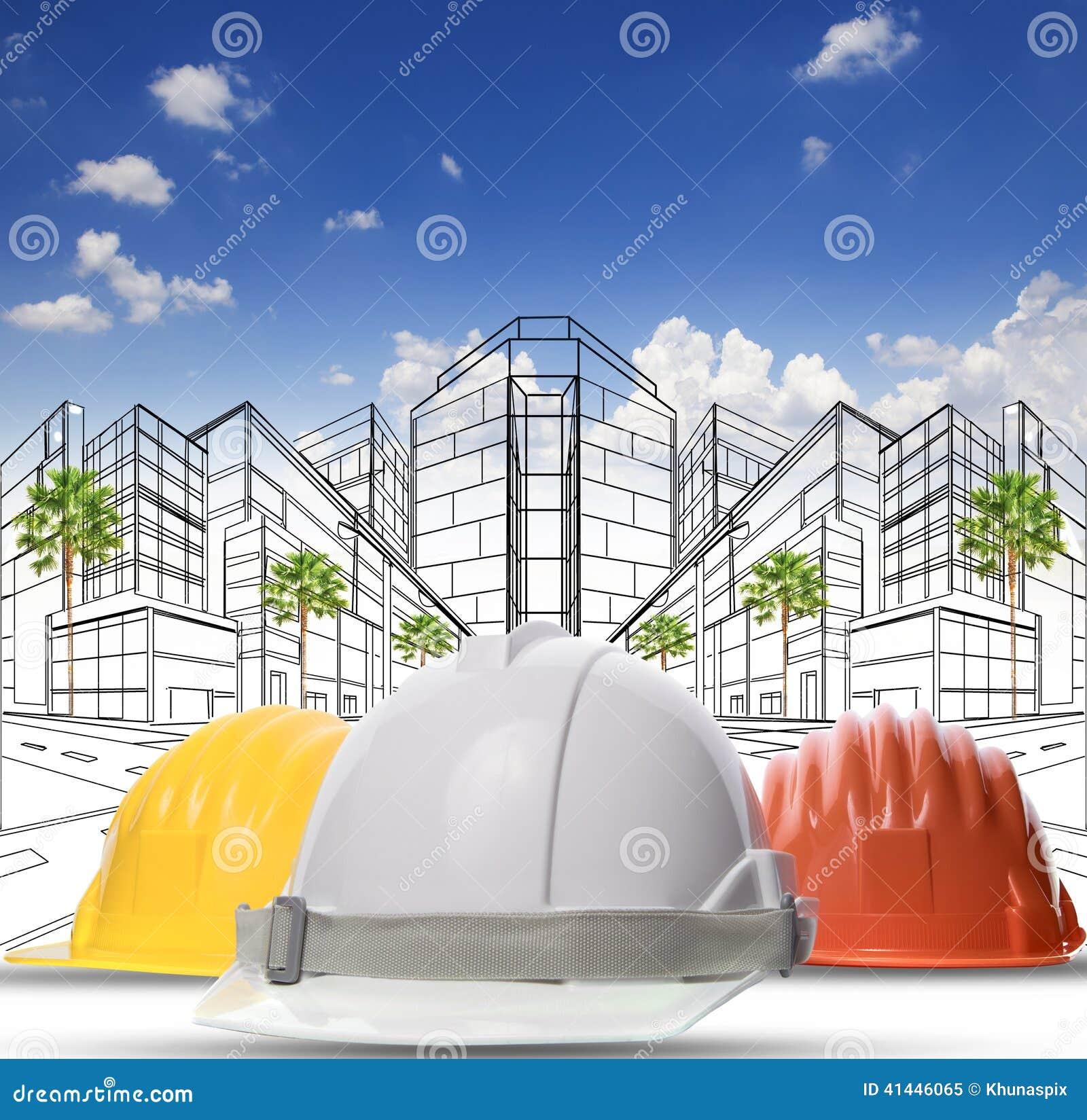 A tre colori del casco protettivo della costruzione di for Colori del rivestimento della baracca