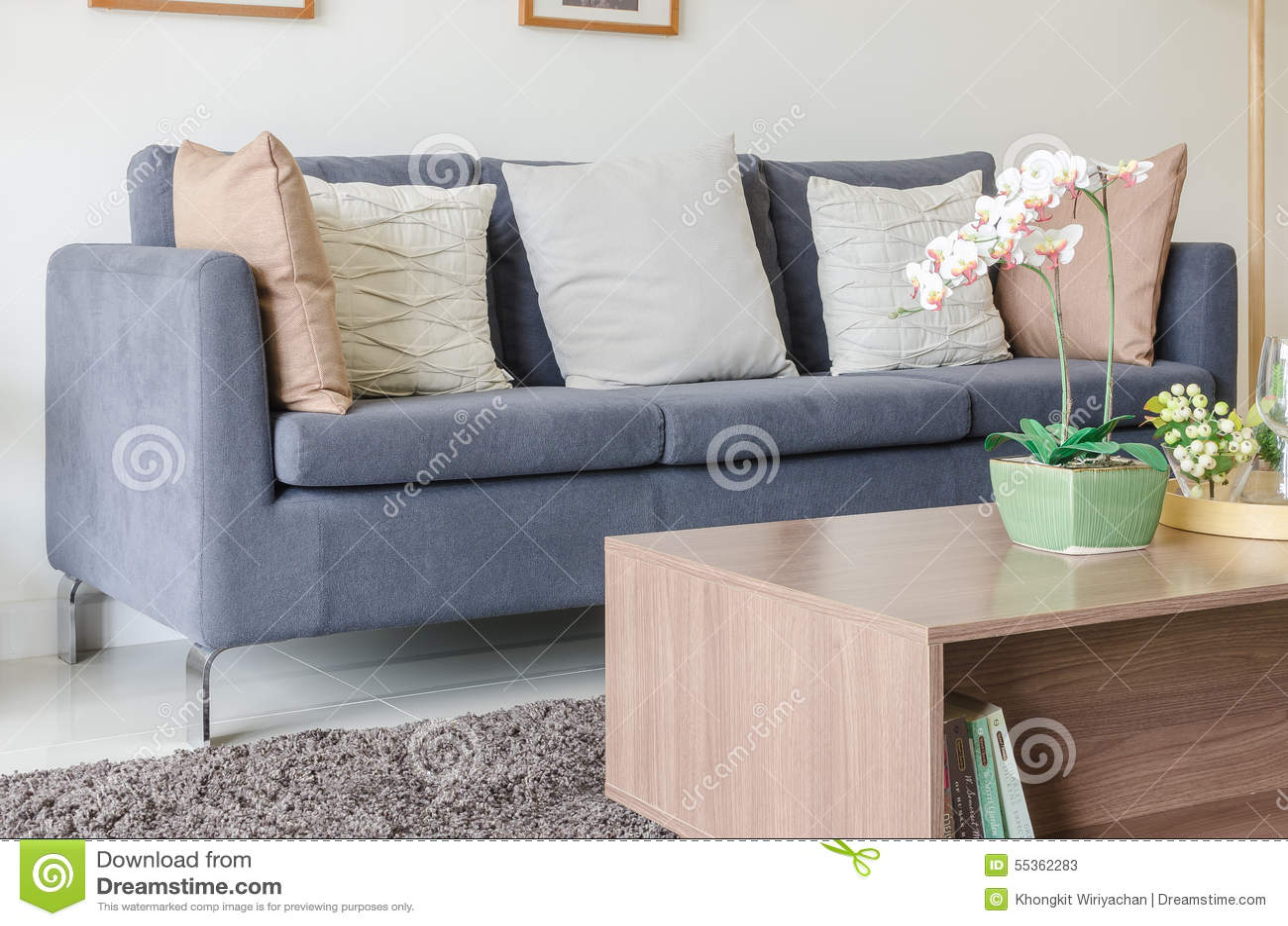 Tre dei cuscini sul sofà blu scuro in salone moderno