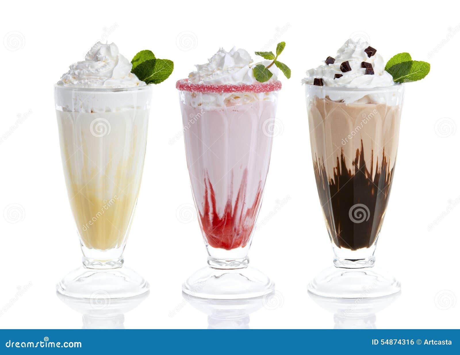 Tre exponeringsglas av milkshakar