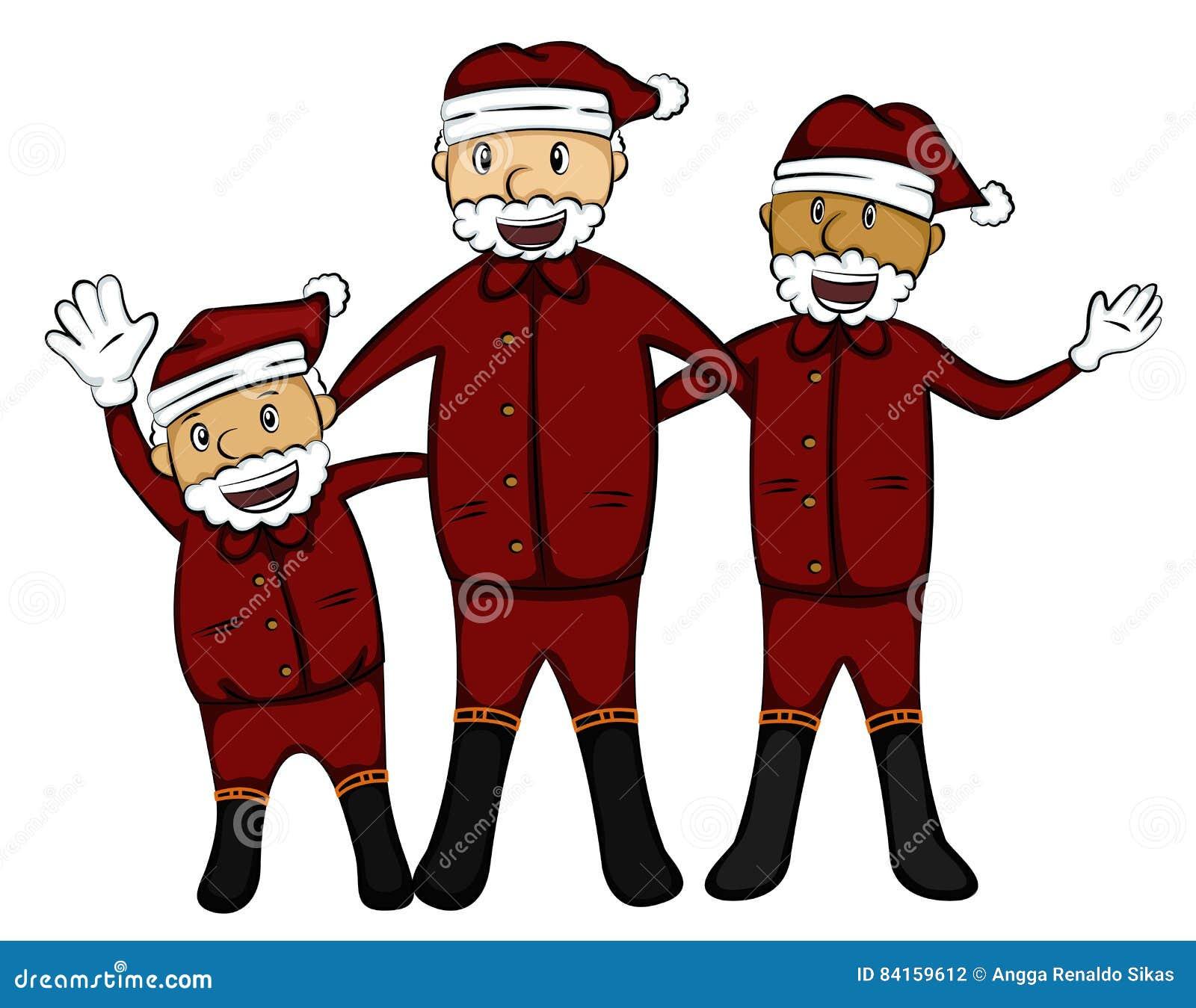 Tre gamala män i Santa Claus Costume Cartoon