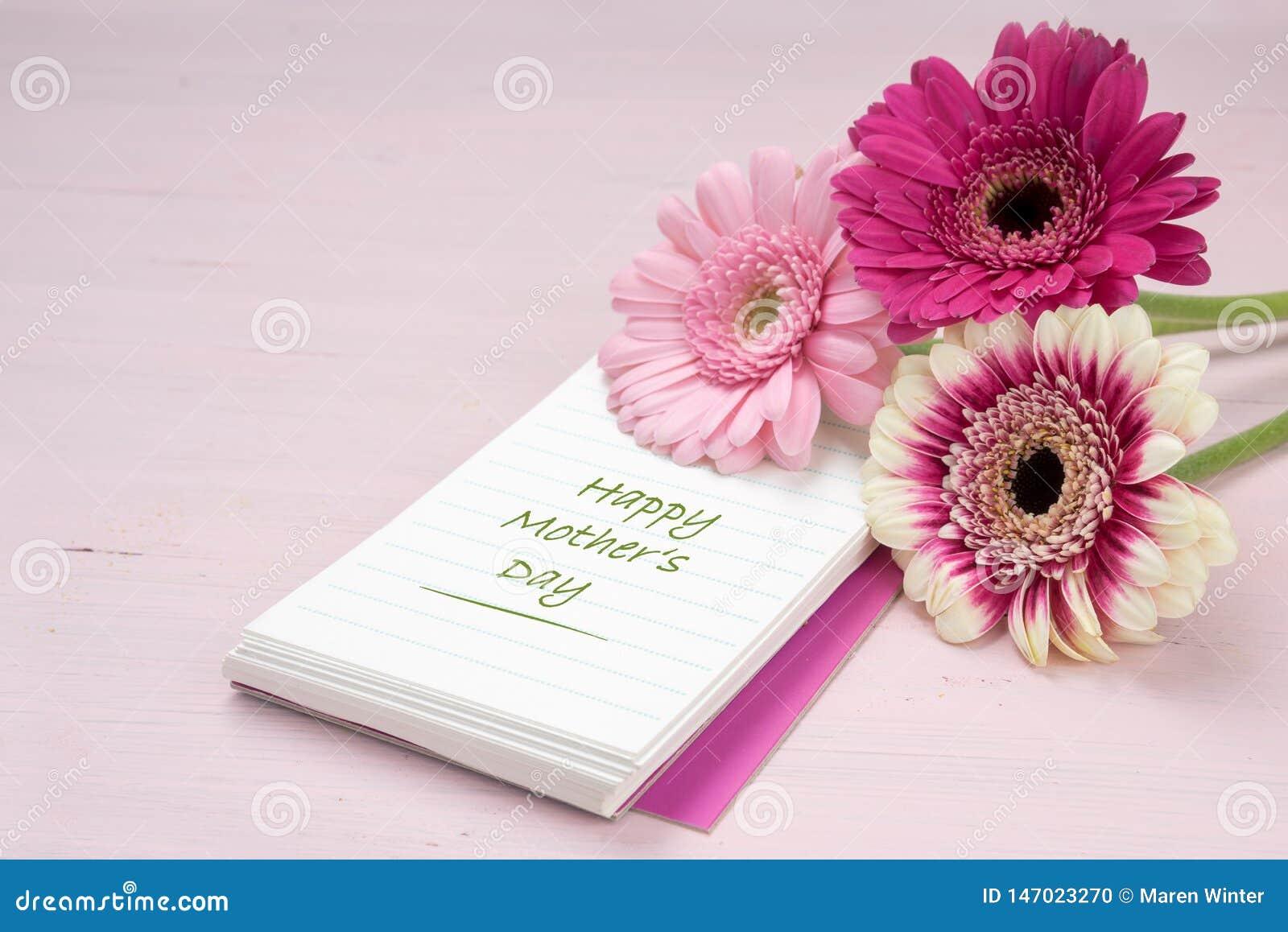 Tre gerberablommor som ligger på ett skrivande block, pastellfärgad rosa kulör bakgrund med kopieringsutrymme, lycklig mors dag f