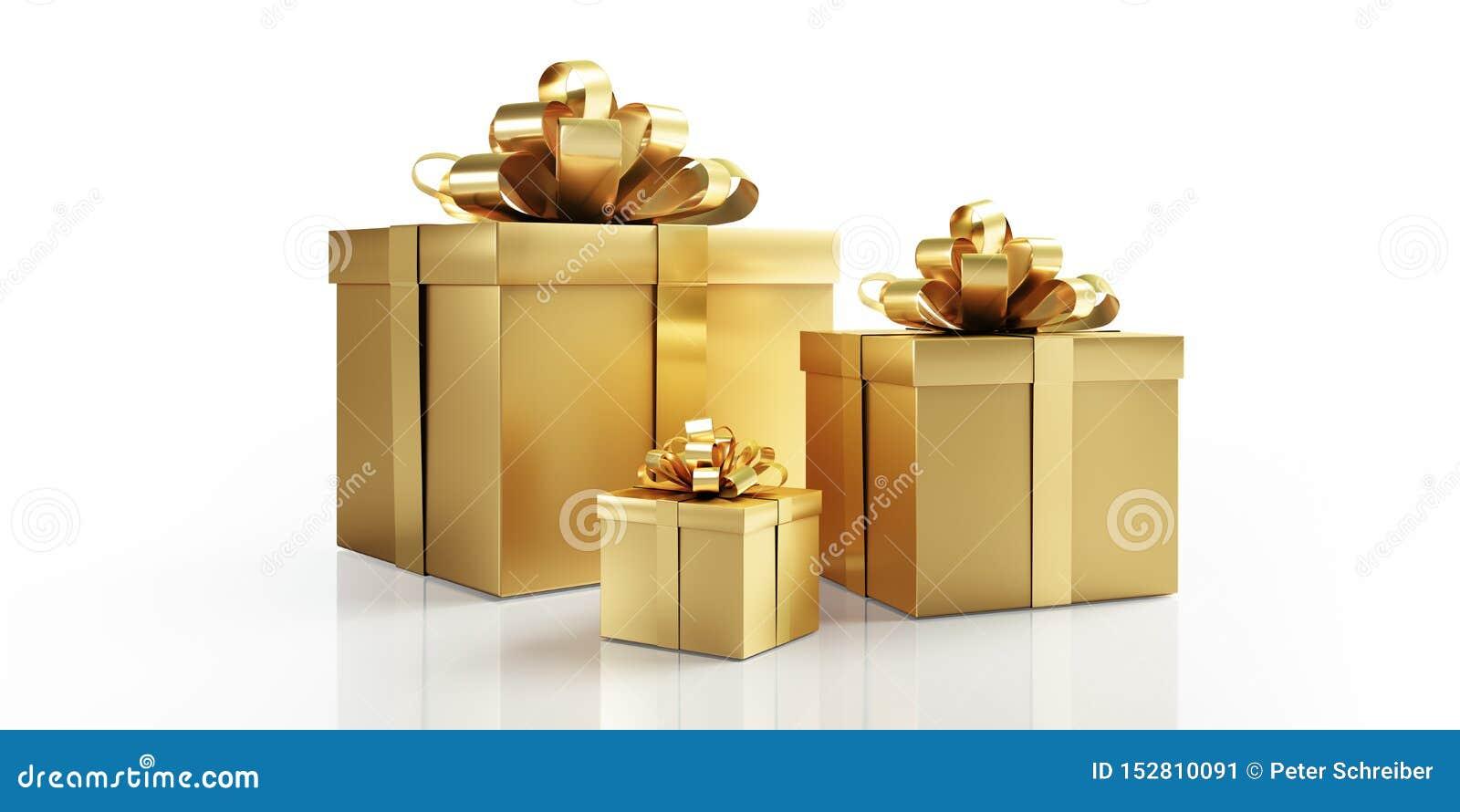 Tre guld- gåvor med den guld- pilbågen
