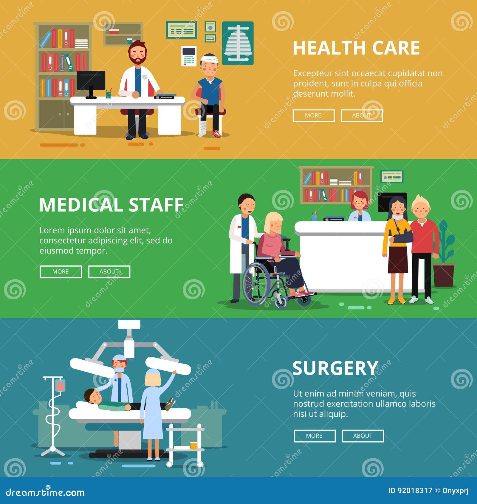 Tre horisontalvektorbaner av sjukvårdbegreppsbilder Läkarundersökningrum och kontor i sjukhus Patienter och