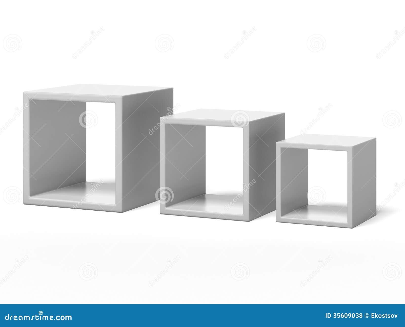 Kanon Tre hyllor för vit ask stock illustrationer. Illustration av inget LS-96