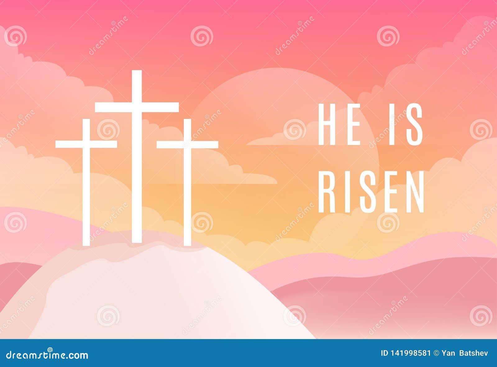 Tre kors på det Golgotha berget Han är det Riseb tecknet Christian Easter Vector Illustration