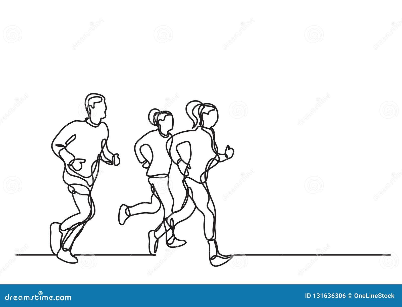 Tre löpare - fortlöpande linje teckning