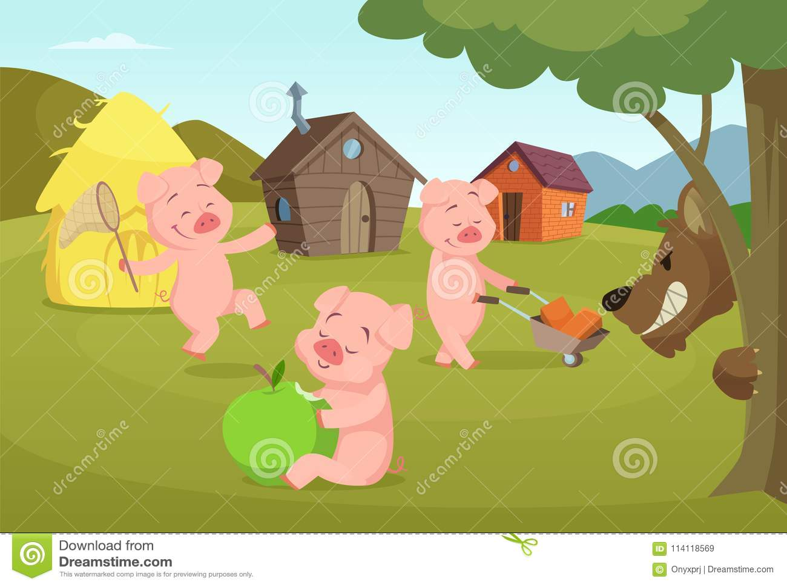 Tre lilla svin nära deras lilla hus och läskig varg
