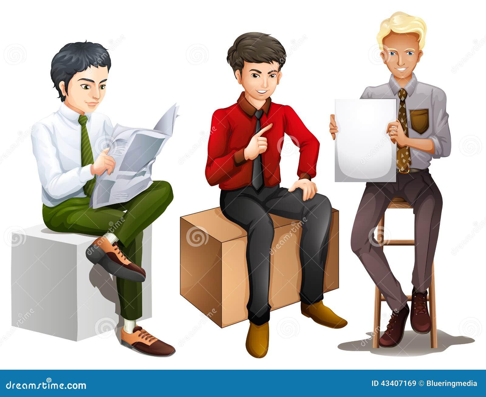 Tre män som ner sitter, medan läsa, tala och rymma en emp
