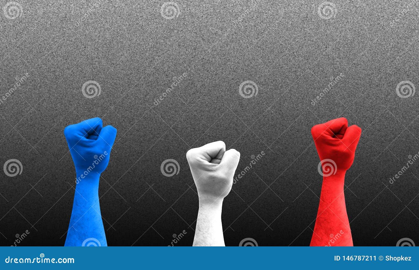 Tre n?var i luften med f?rgerna av den Frankrike flaggan