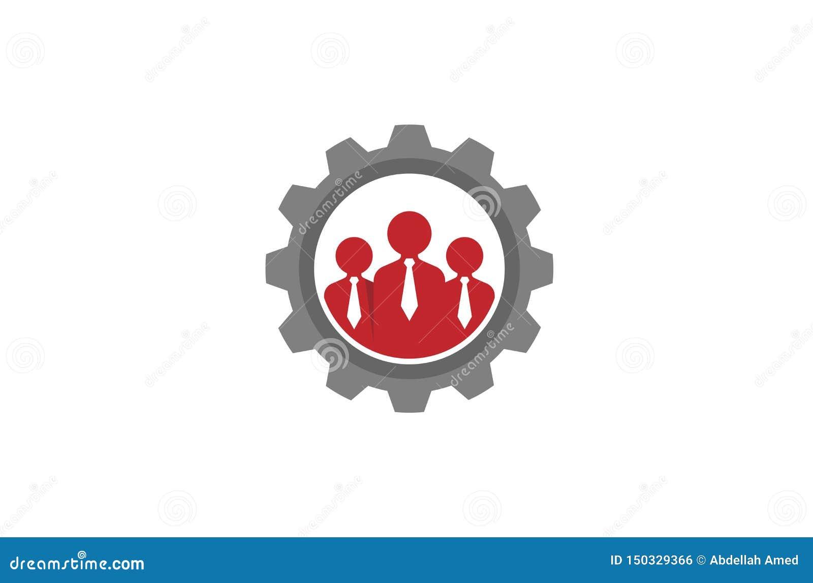 Tre persone creative Team Gear Logo Design Illustration