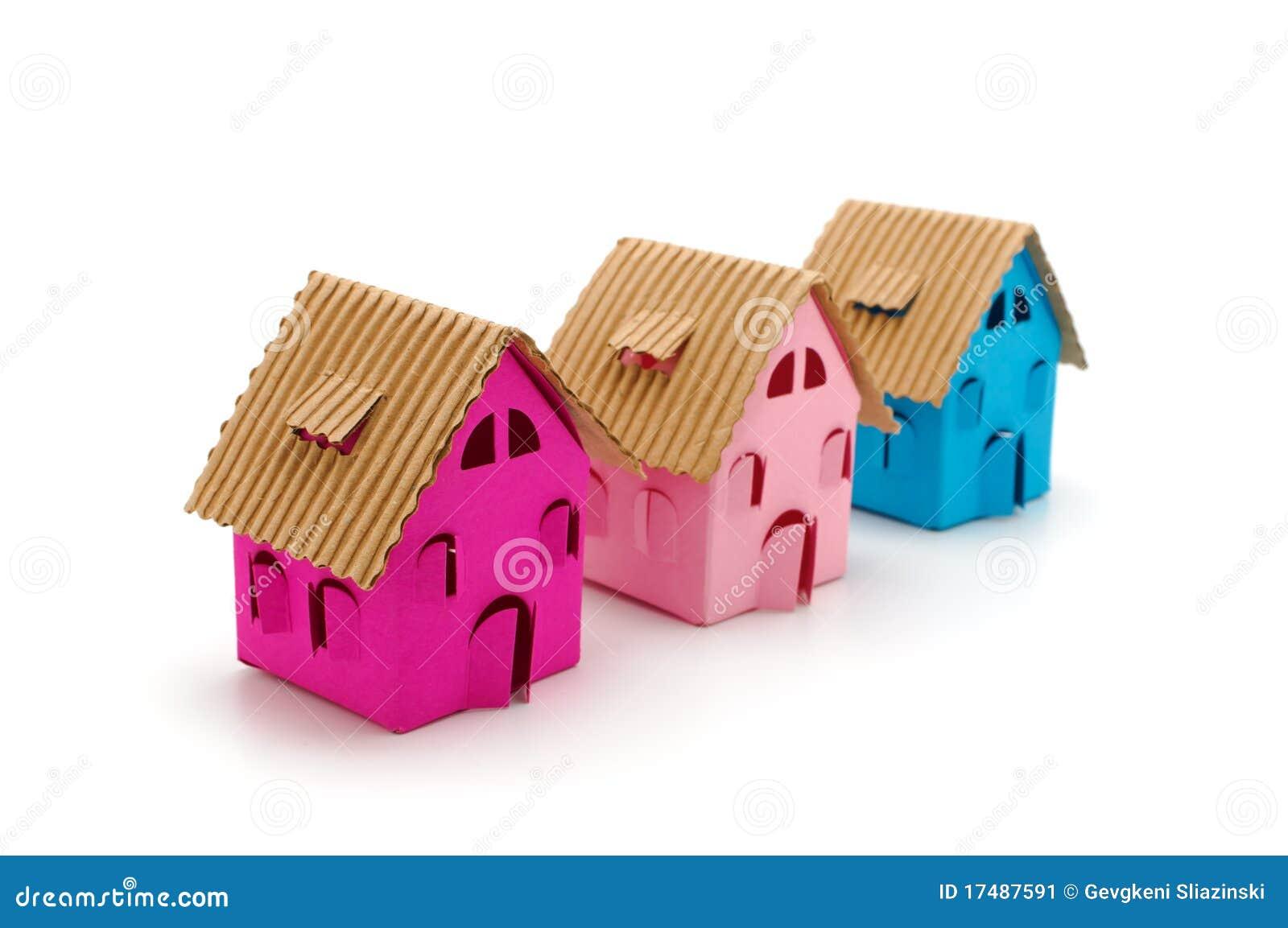 Tre piccole case di colore immagine stock immagine di for Piccole planimetrie di piccole case