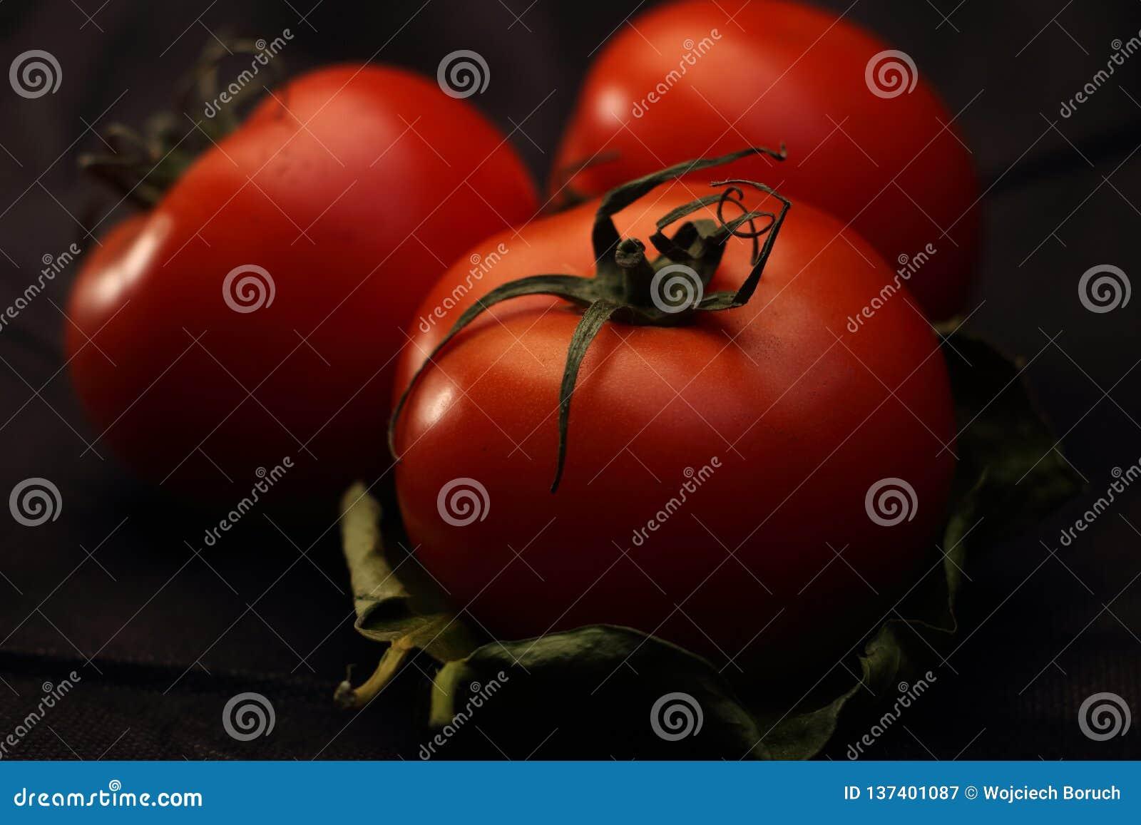 Tre röda tomater på ett blad