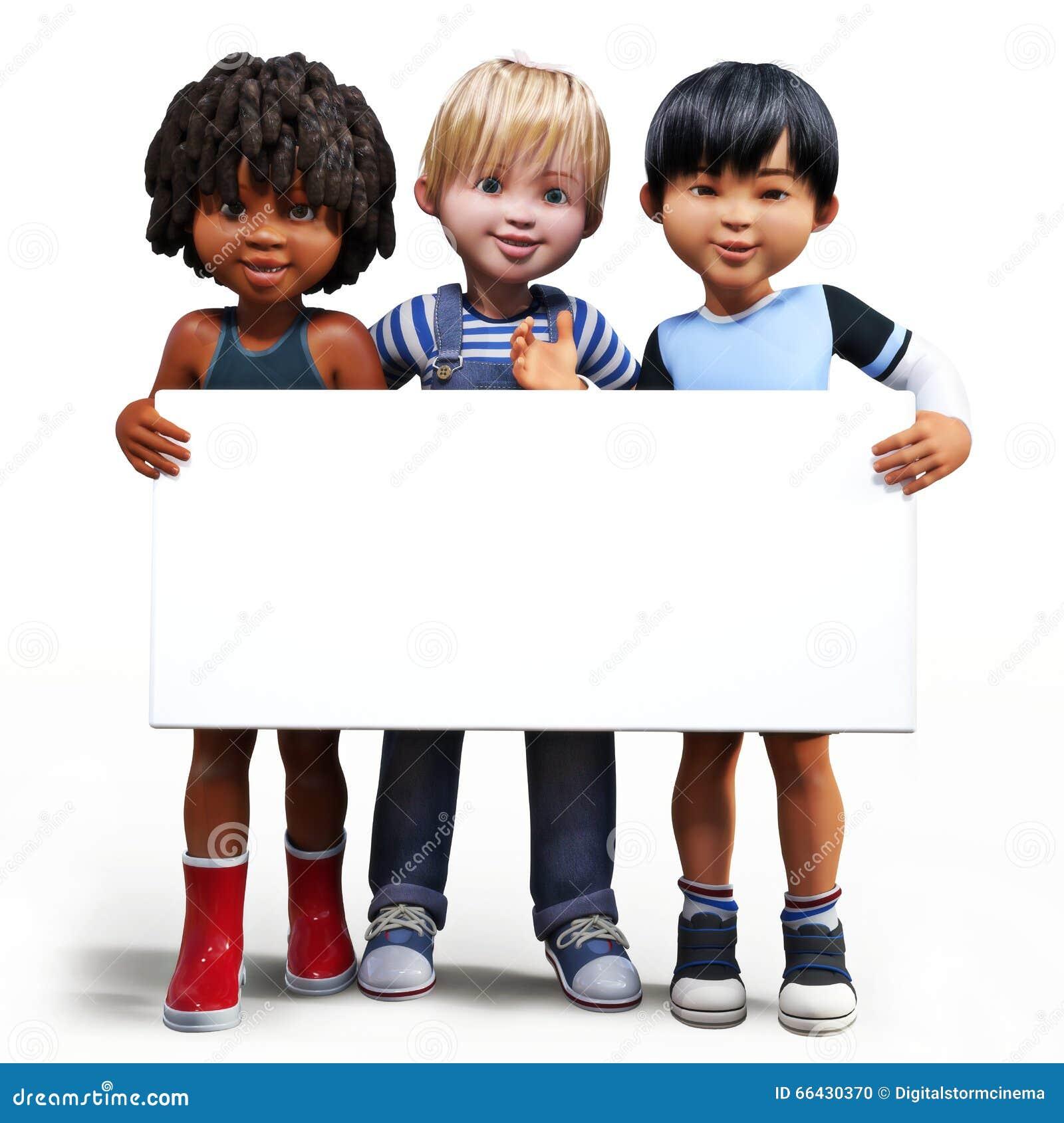 Tre ragazzi che ostacolano un bordo bianco del segno vuoto con stanza per il vostro spazio della copia o del testo