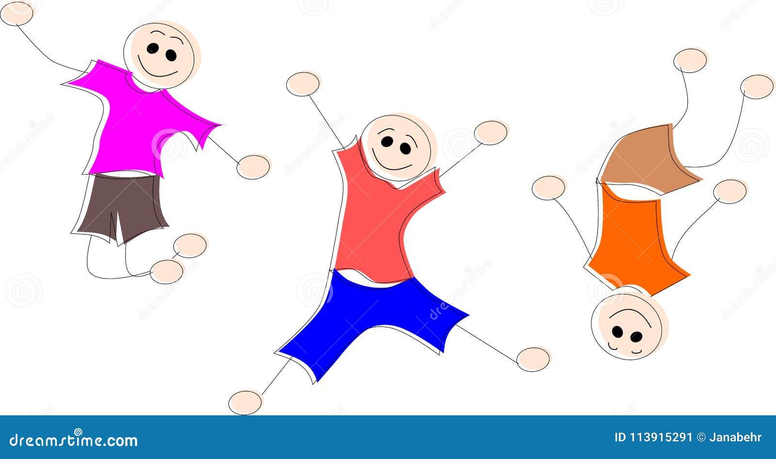 Tre ragazzini stanno saltando