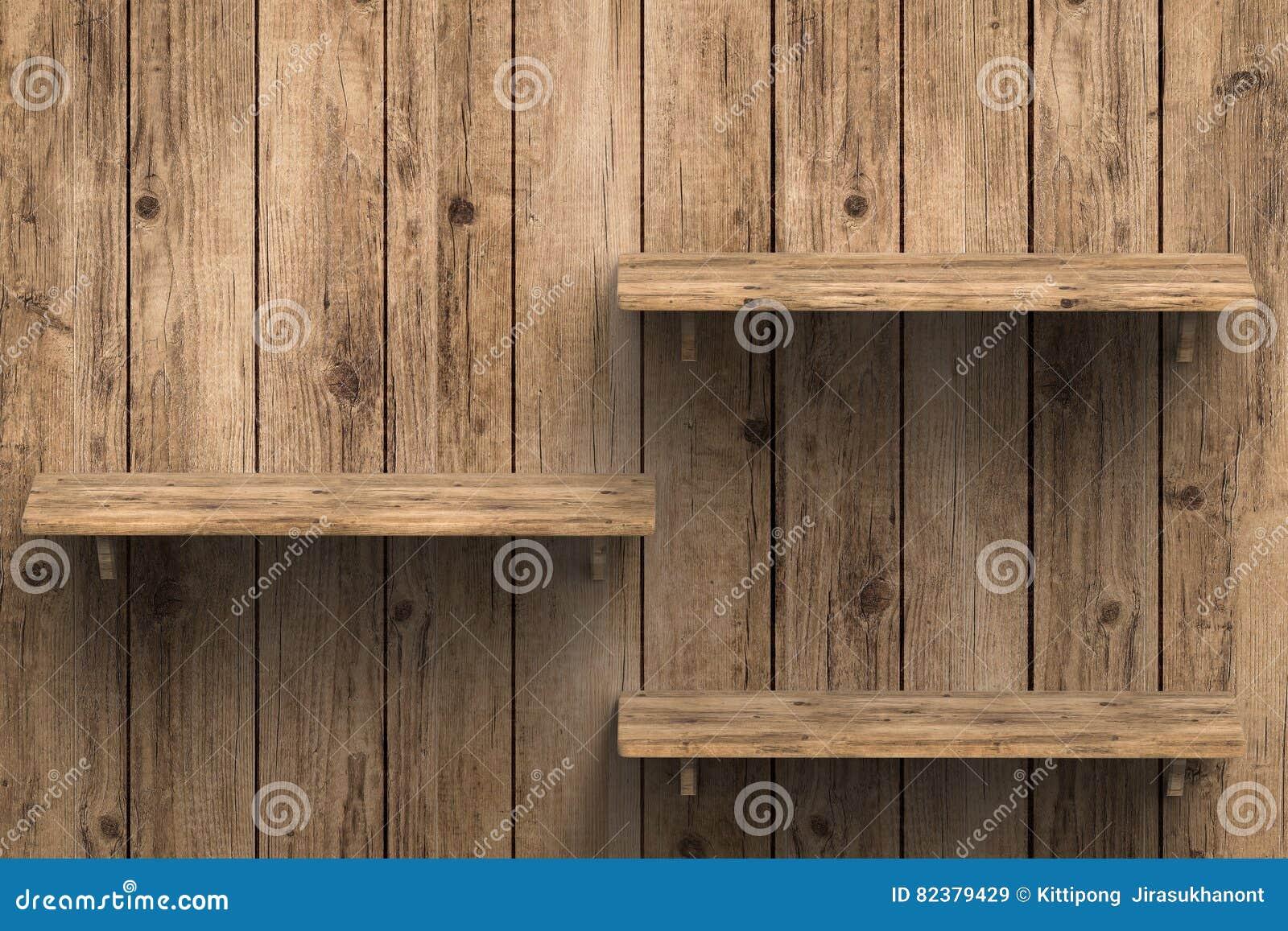 Decorare Mensole Legno : Tre scaffali di legno sulla parete immagine stock immagine di