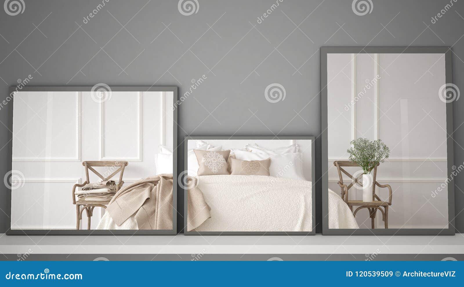 Tre specchi moderni sulla scena di riflessione di interior - Specchi moderni per camera da letto ...
