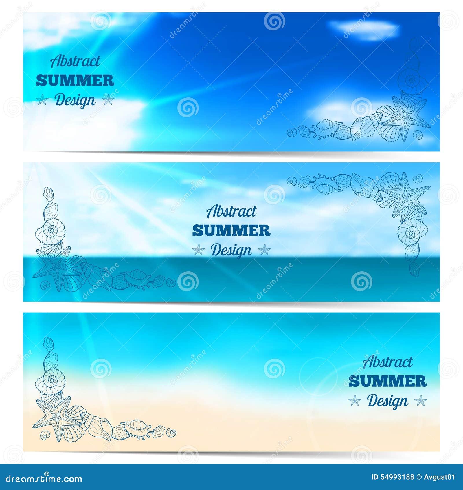Tre suddiga sommarbaner med snäckskal och sjöstjärnor