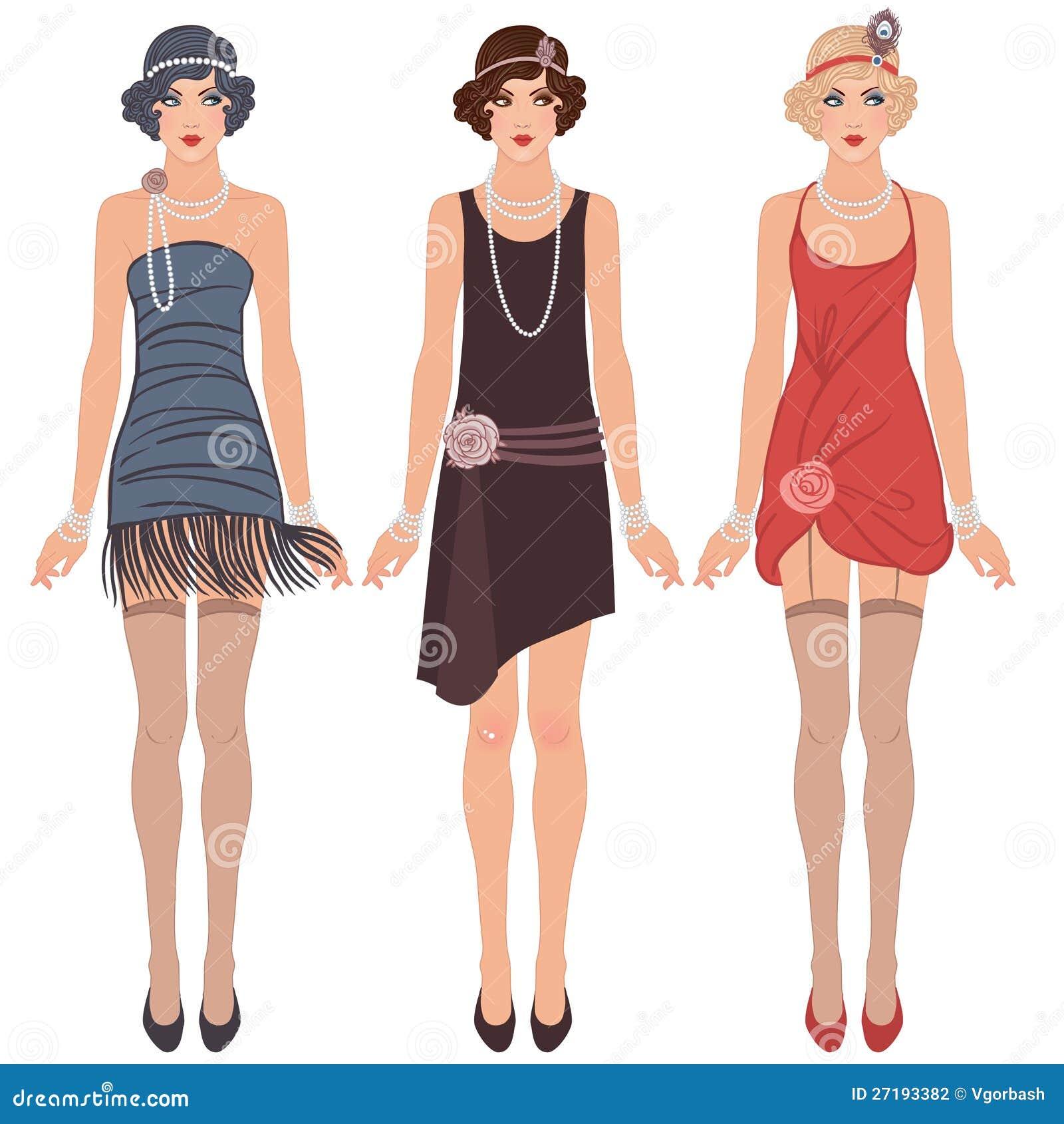 Tre unga klaffkvinnor av 20-tal