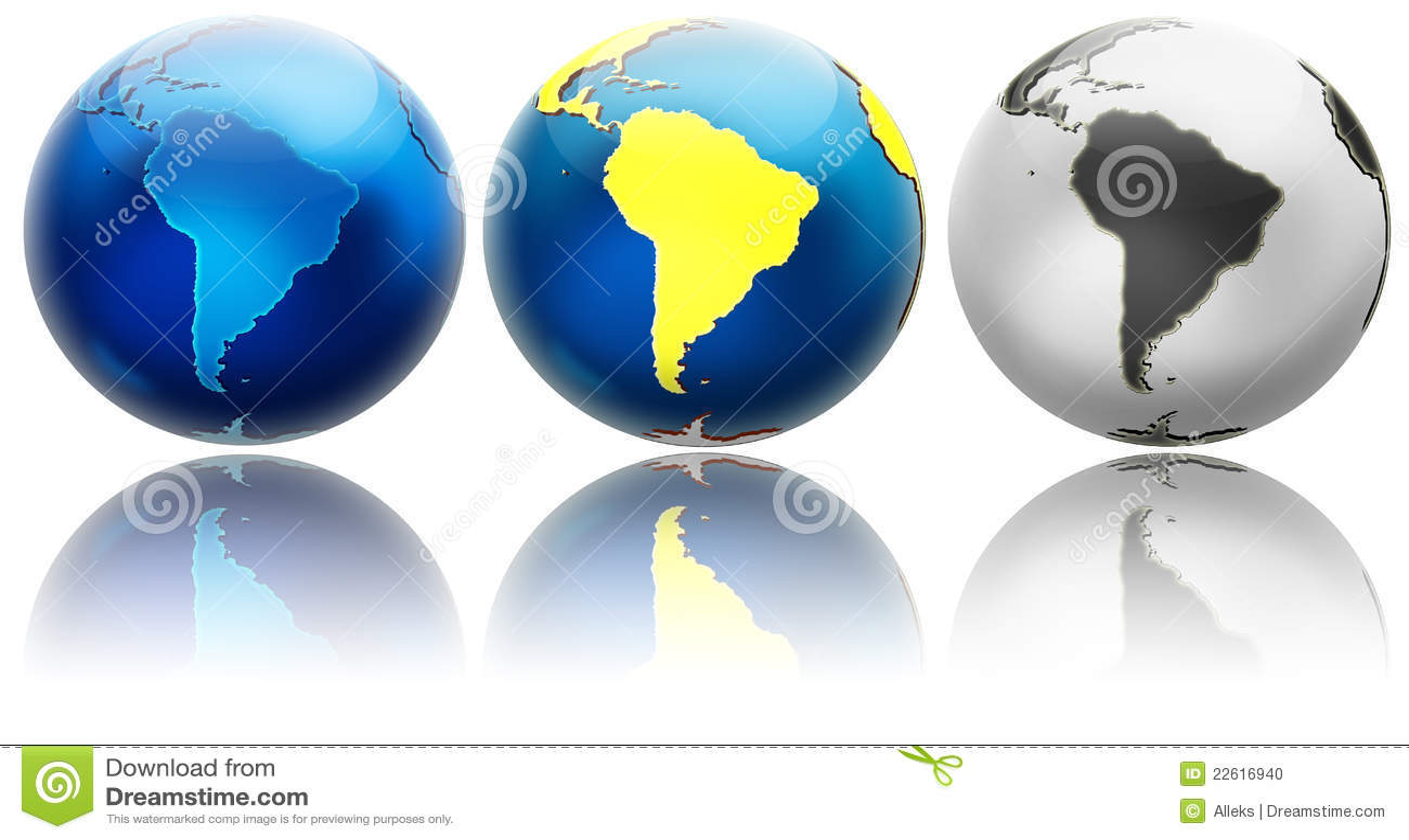 Tre variazioni differenti Sudamerica del globo
