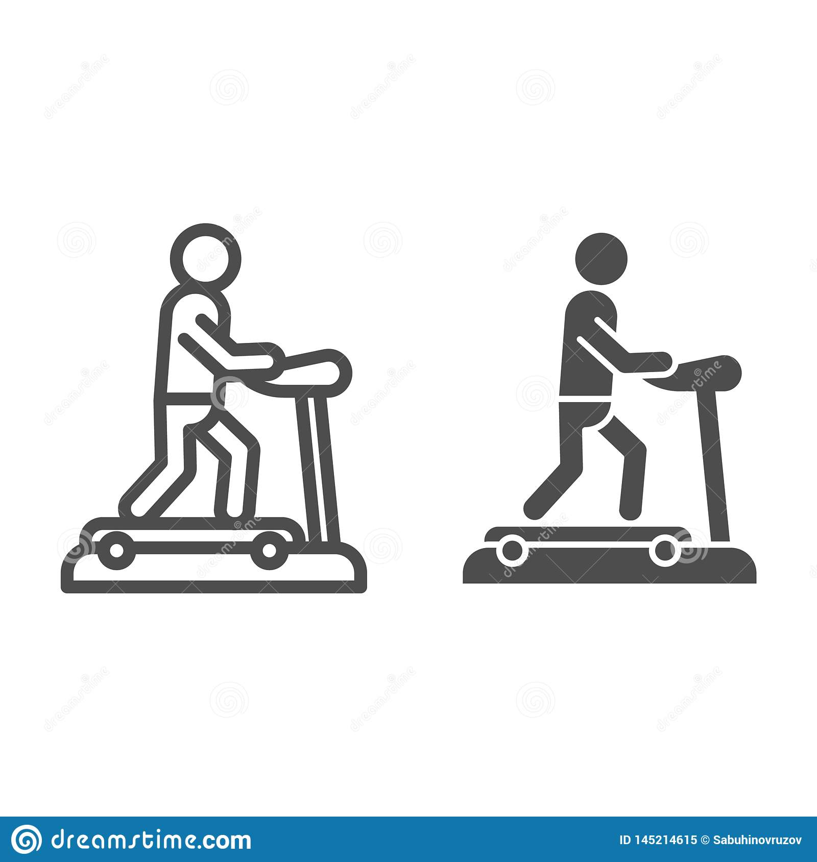 Treadmill line and glyph icon. Training man vector illustration isolated on white. Running track outline style design