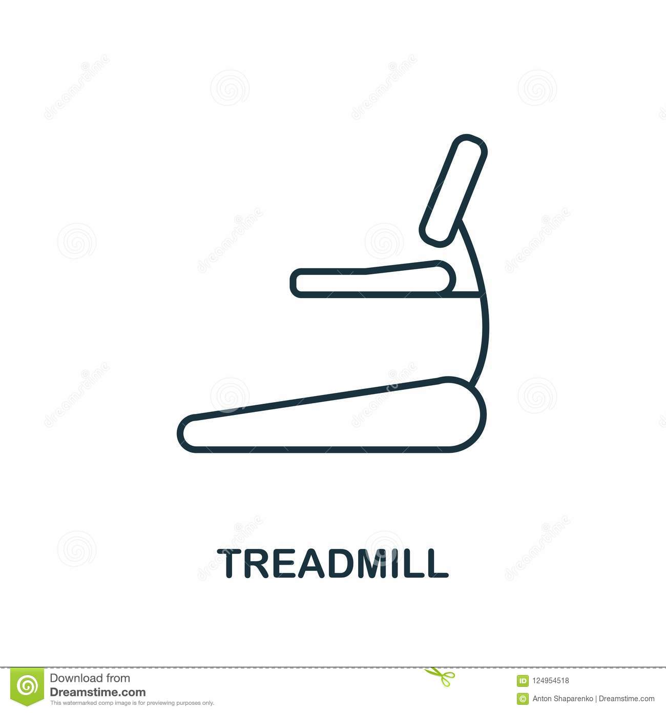 Treadmill outline icon. Simple element illustration. Treadmill icon in outline style design from sport equipment collection. Perfe