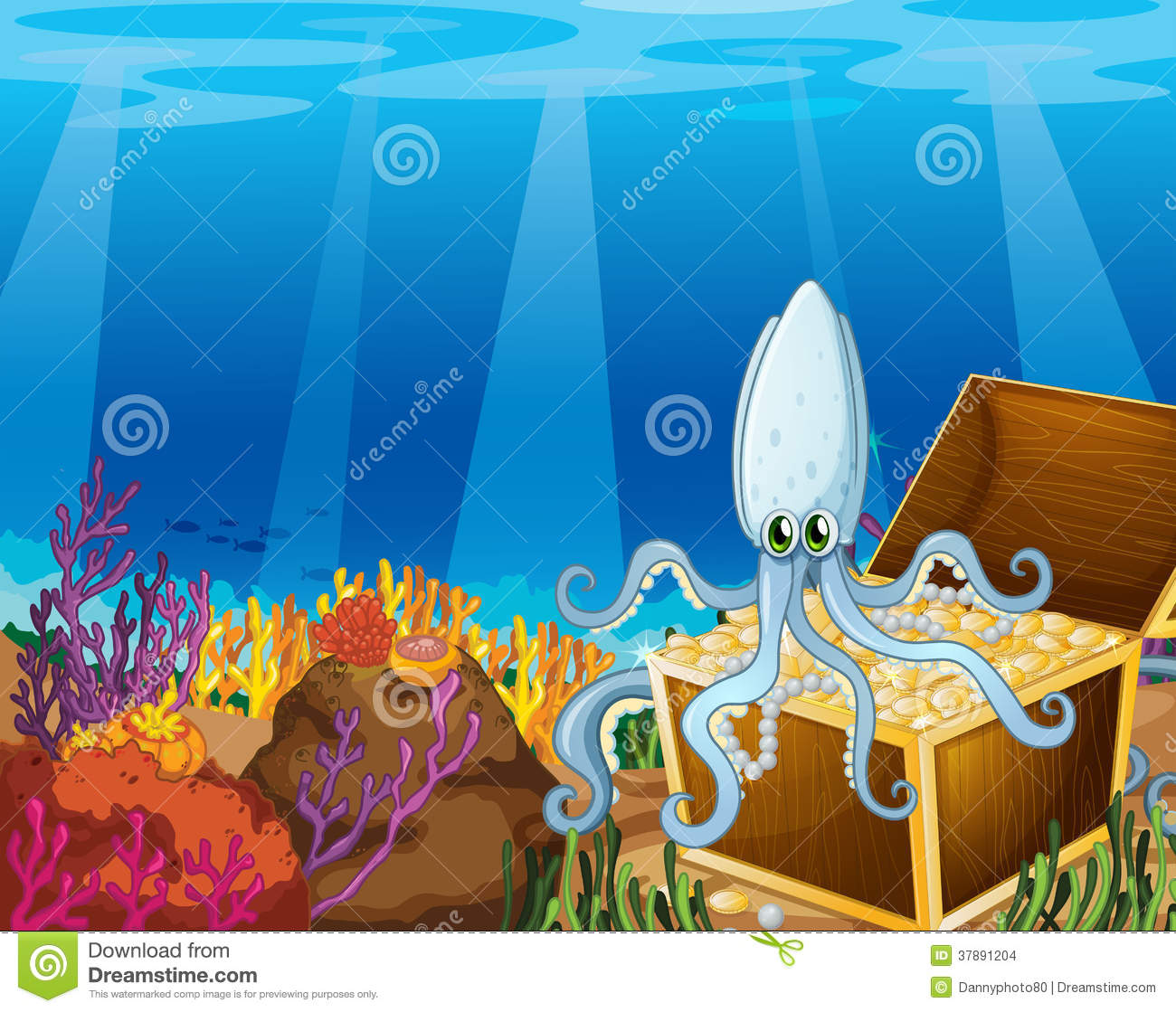 a treasure box under the sea with an octopus stock images free pirate treasure chest clipart Empty Treasure Chest