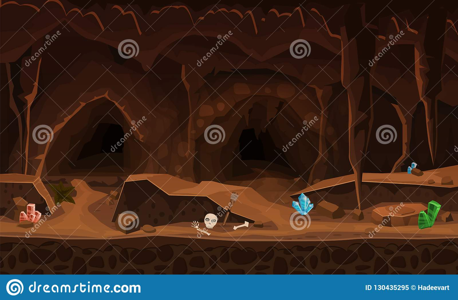 Treasure Cave With Crystals Concept Art For Computer Game