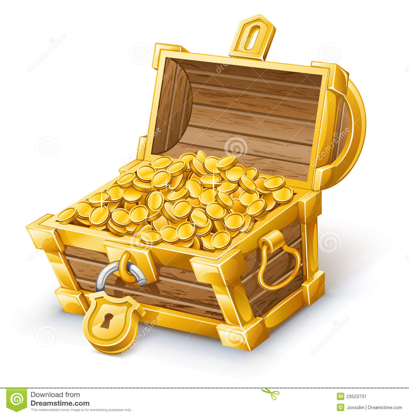 Vector illustration of treasure chest on white background.