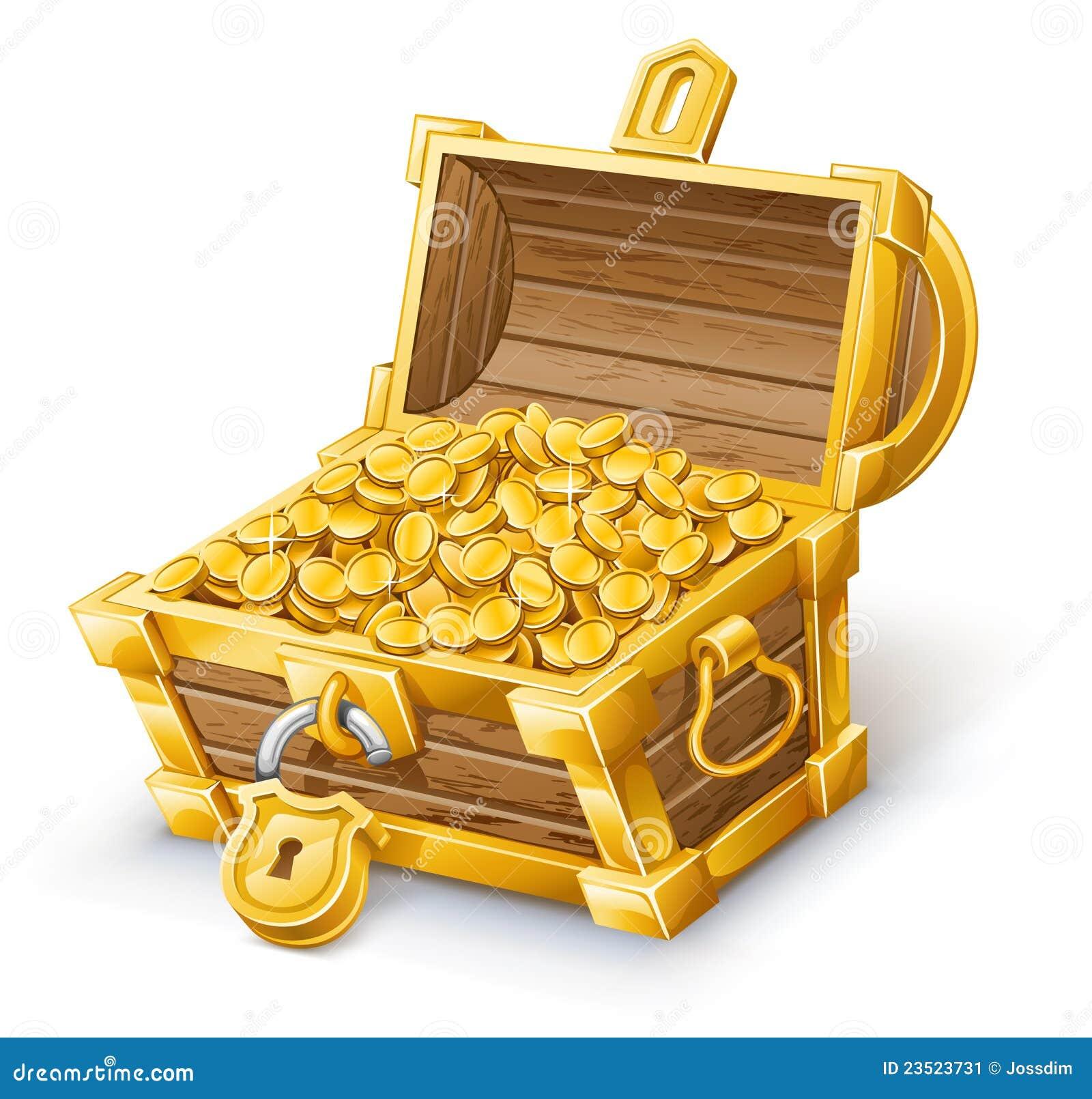 Vector illustration of treasure chest on white background.