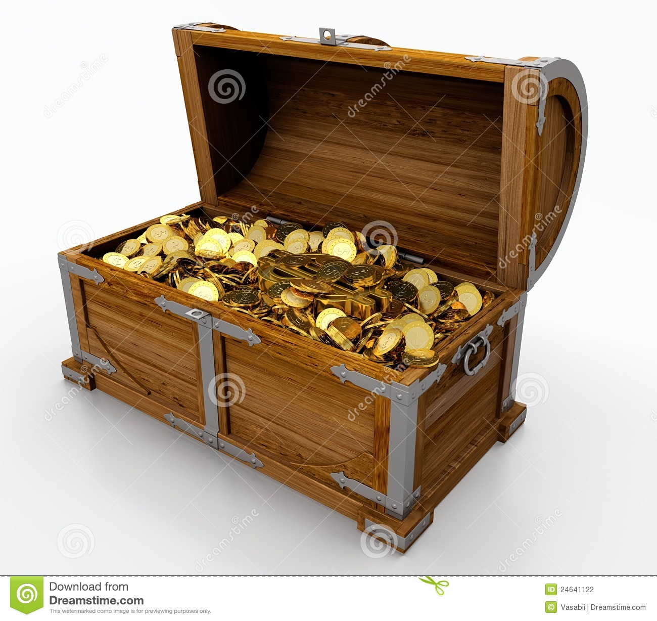 Treasure chest full of golden coins on white background.