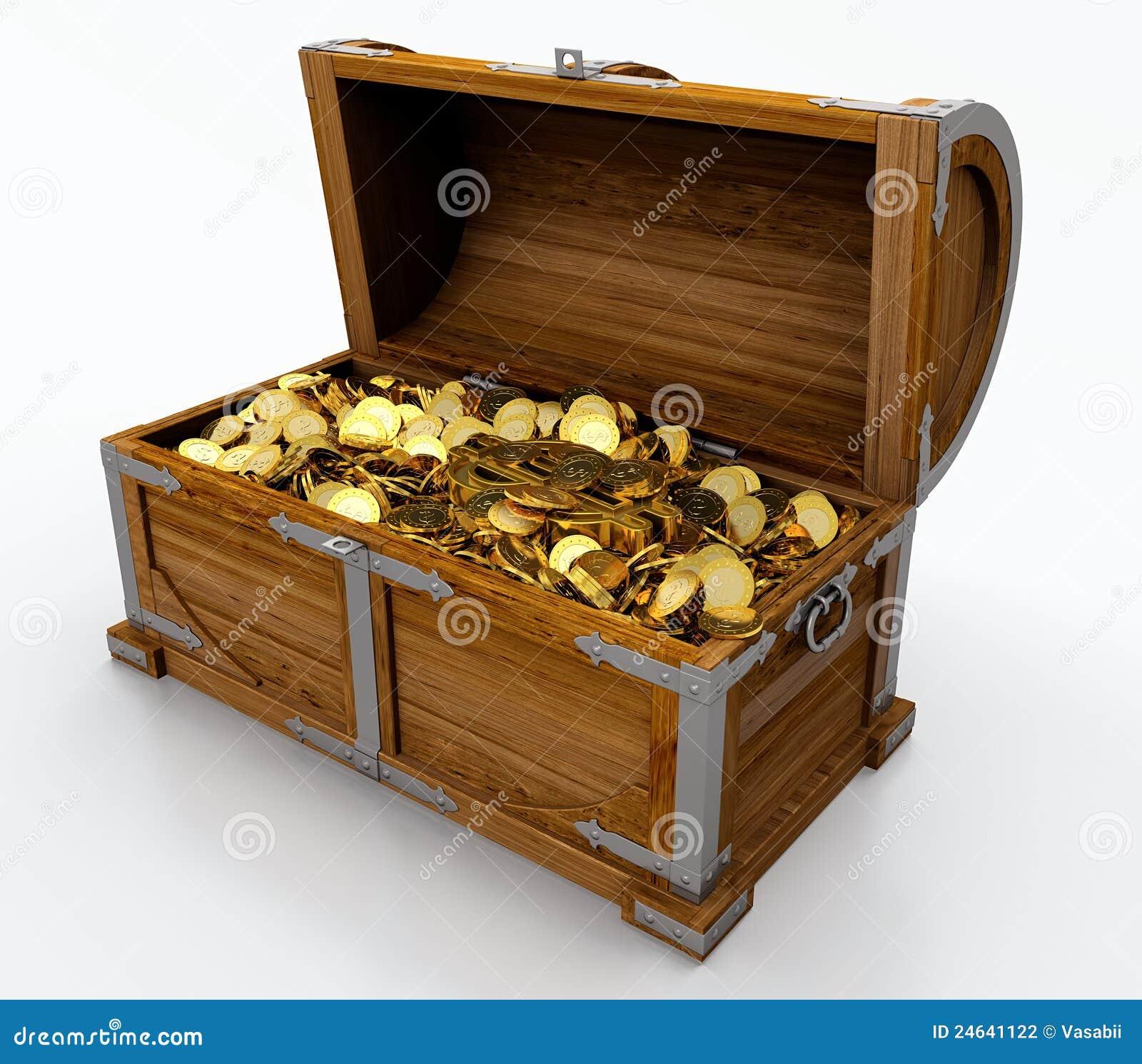 Treasure chest full of golden coins on white background.